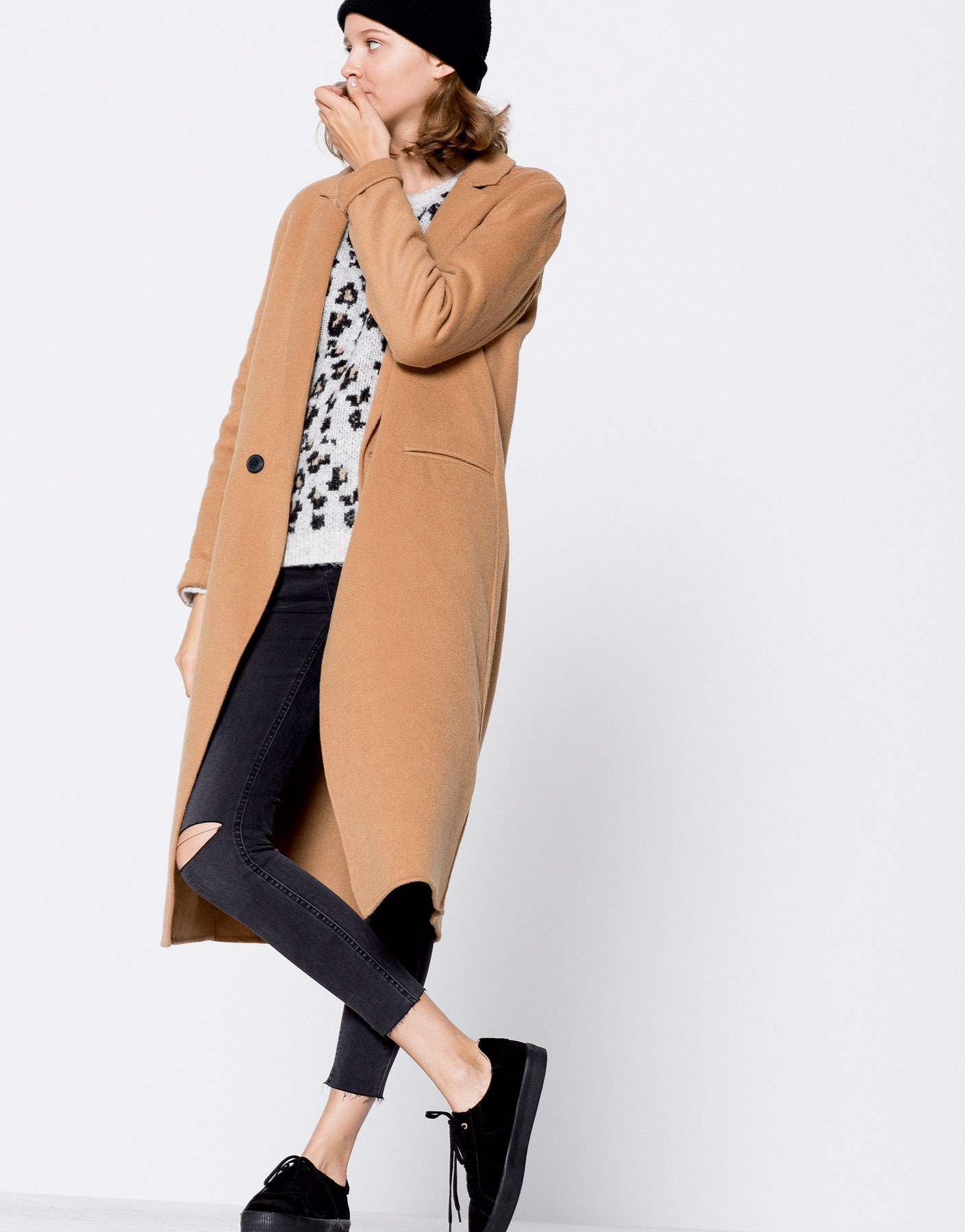 Manteau long style masculin deux boutons