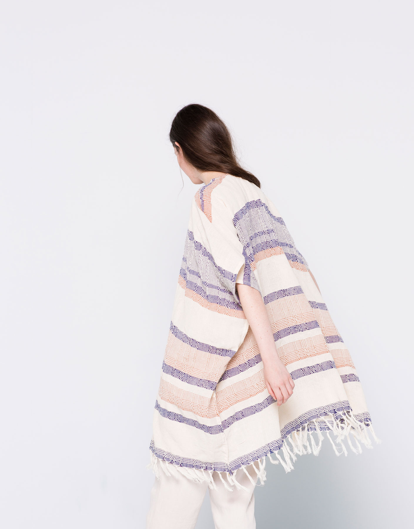 Horizontal-stripes poncho