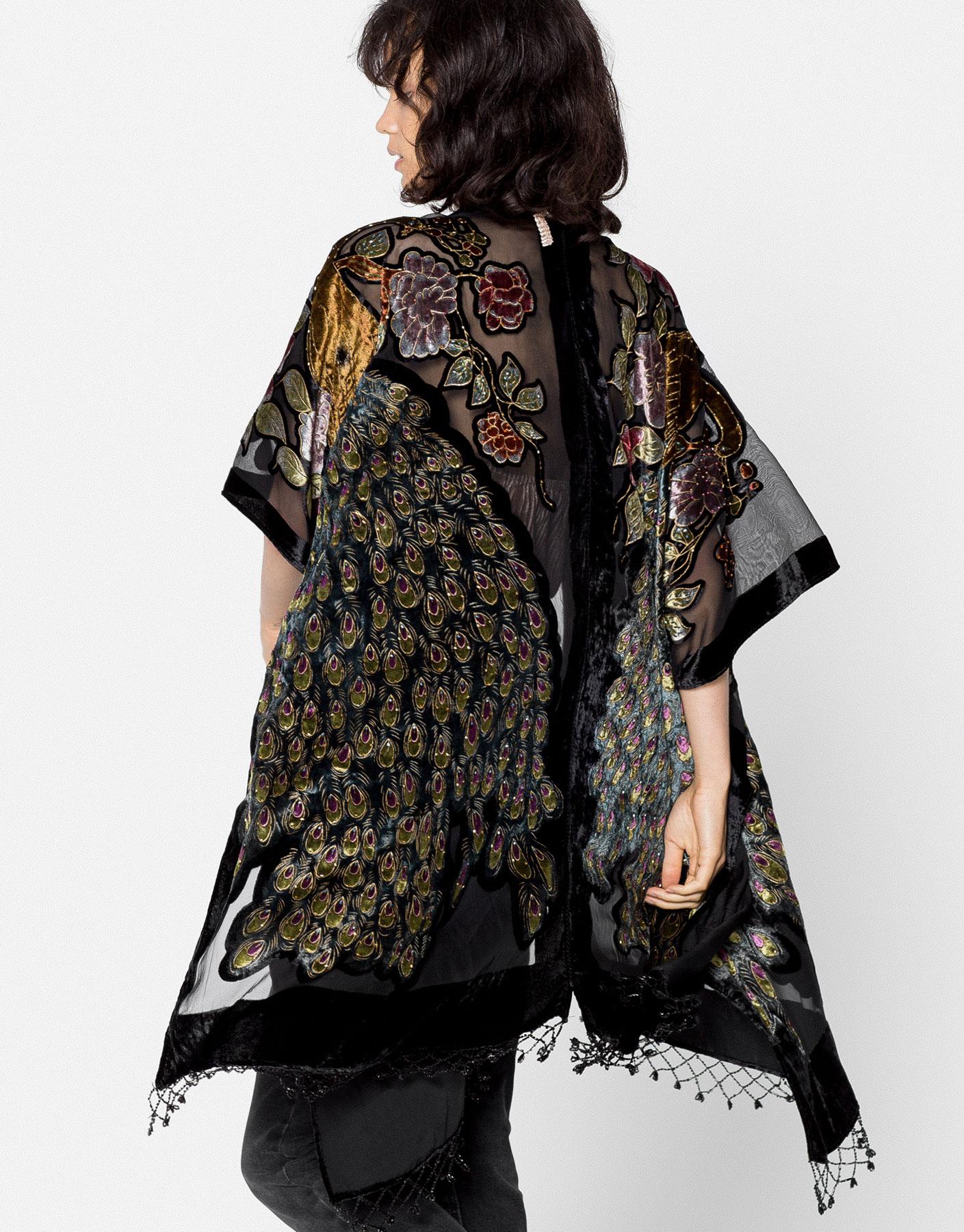 Peacock embroidery kimono