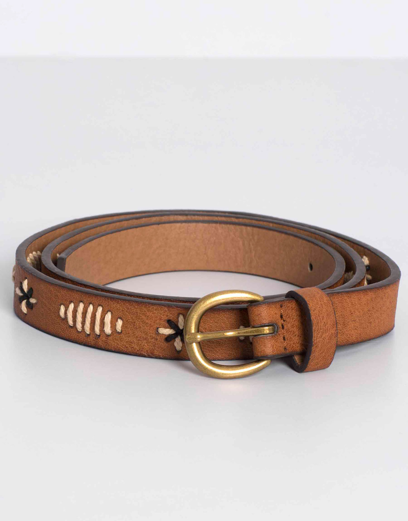 Topstitched belt