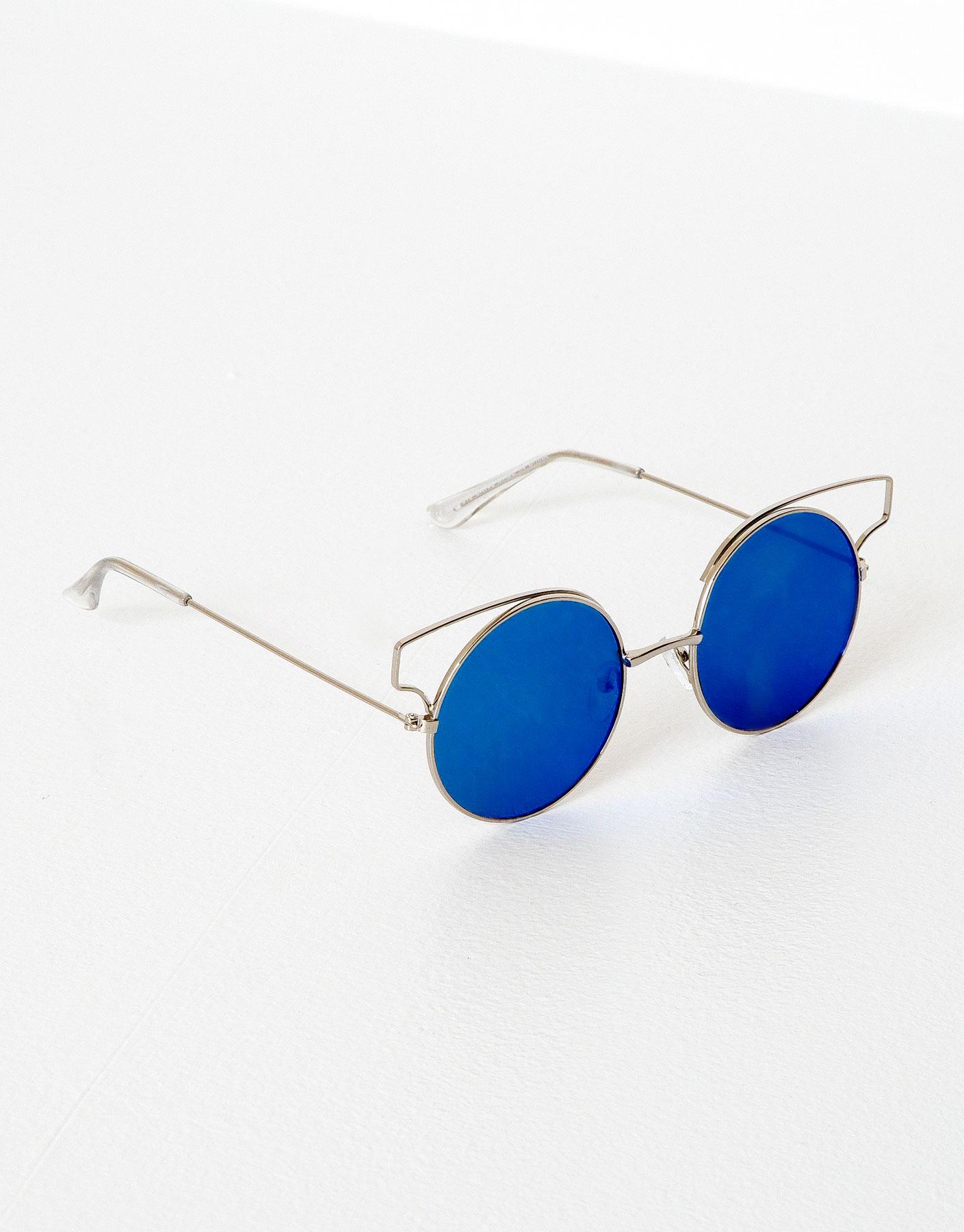 Round metallic mirrored sunglasses