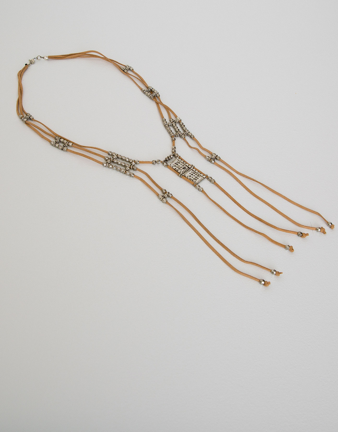 Metal and suede necklace