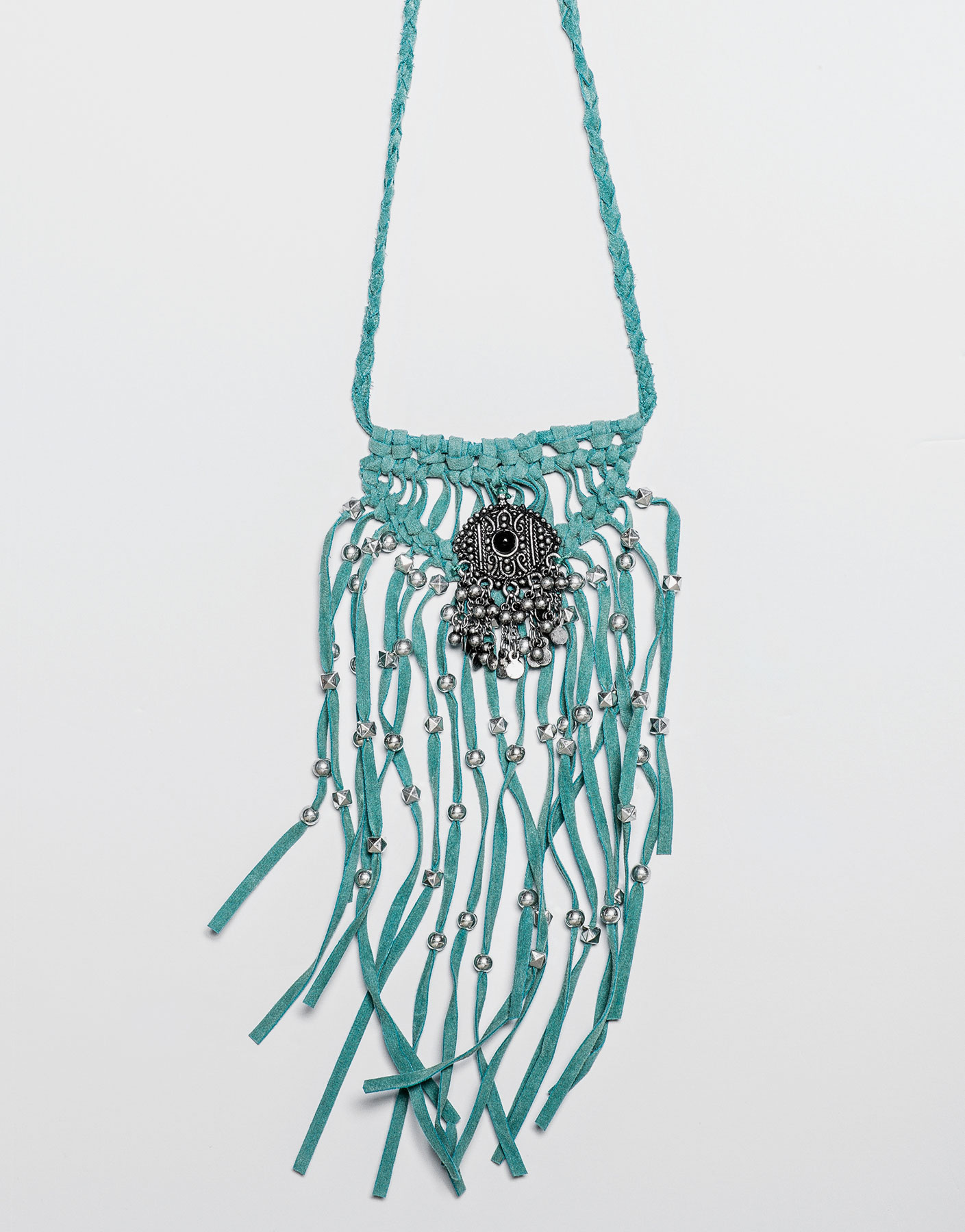 Collier franges turquoise
