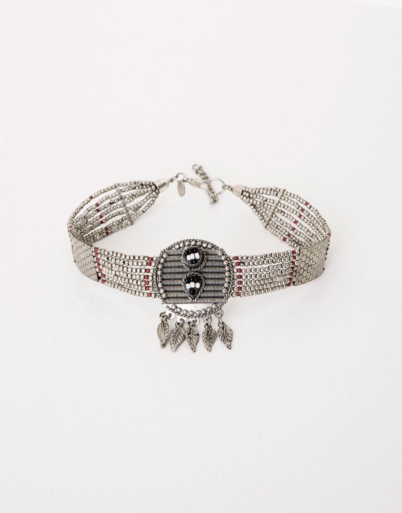 Feathers and beads choker