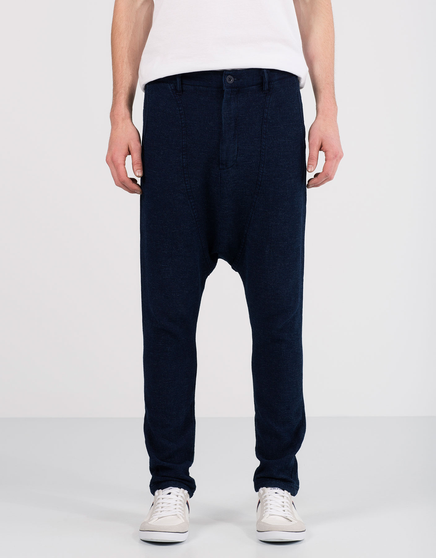 Denim dobby trousers