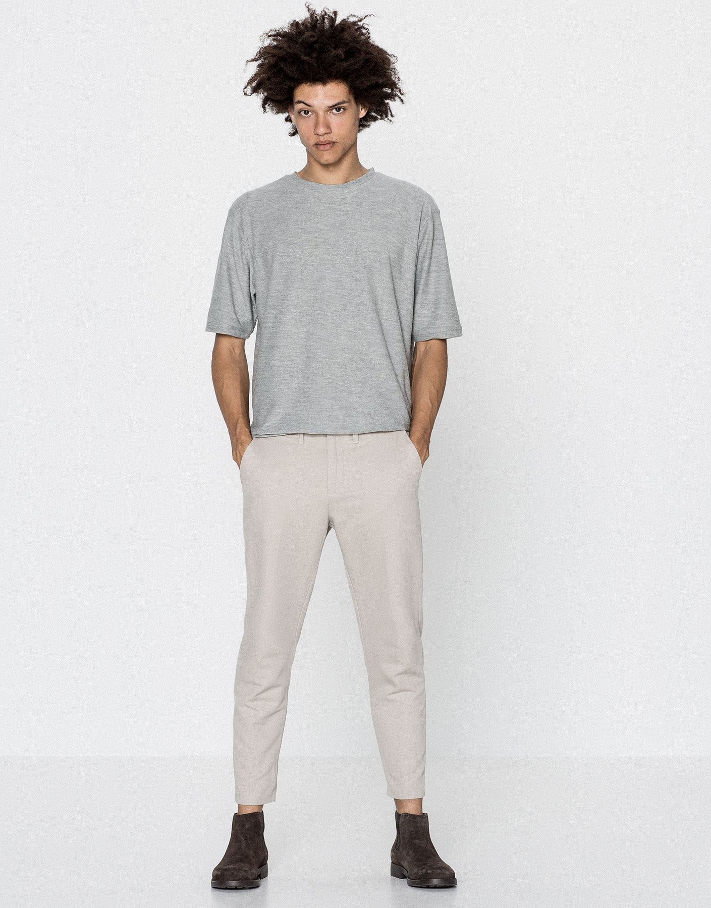 Textured weave chino-style trousers
