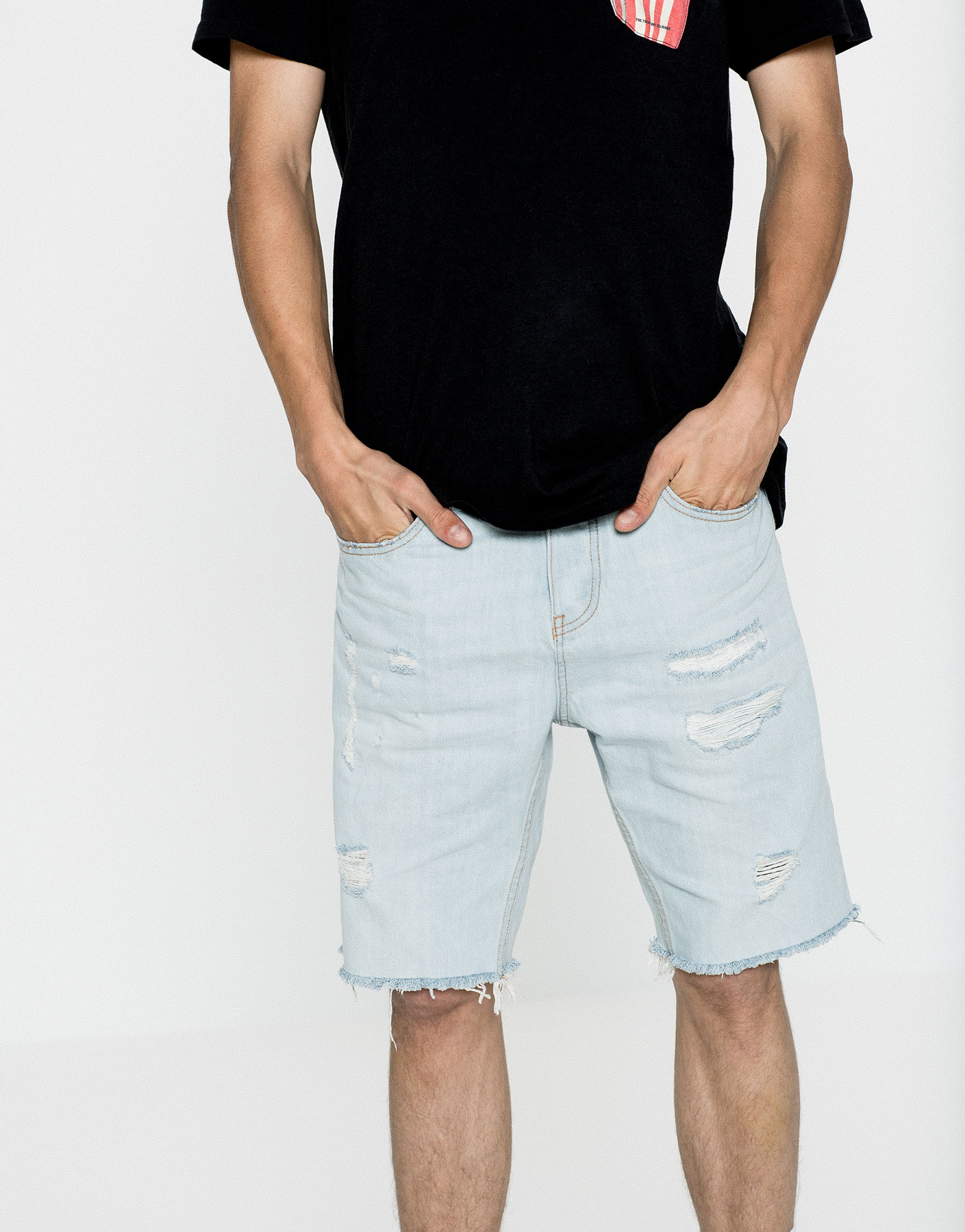 Denim ripped bermuda shorts