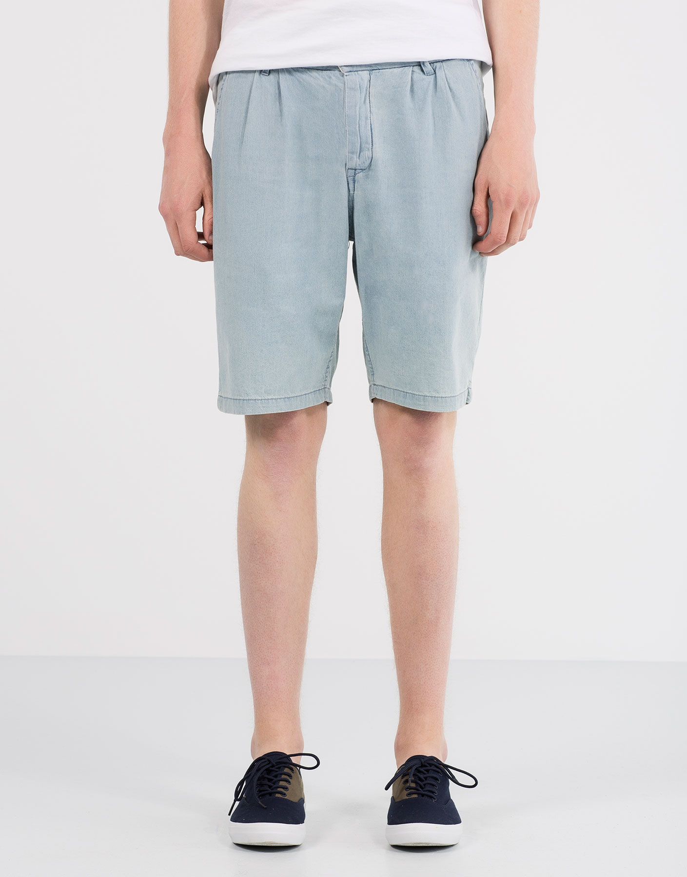 Light denim bermuda shorts