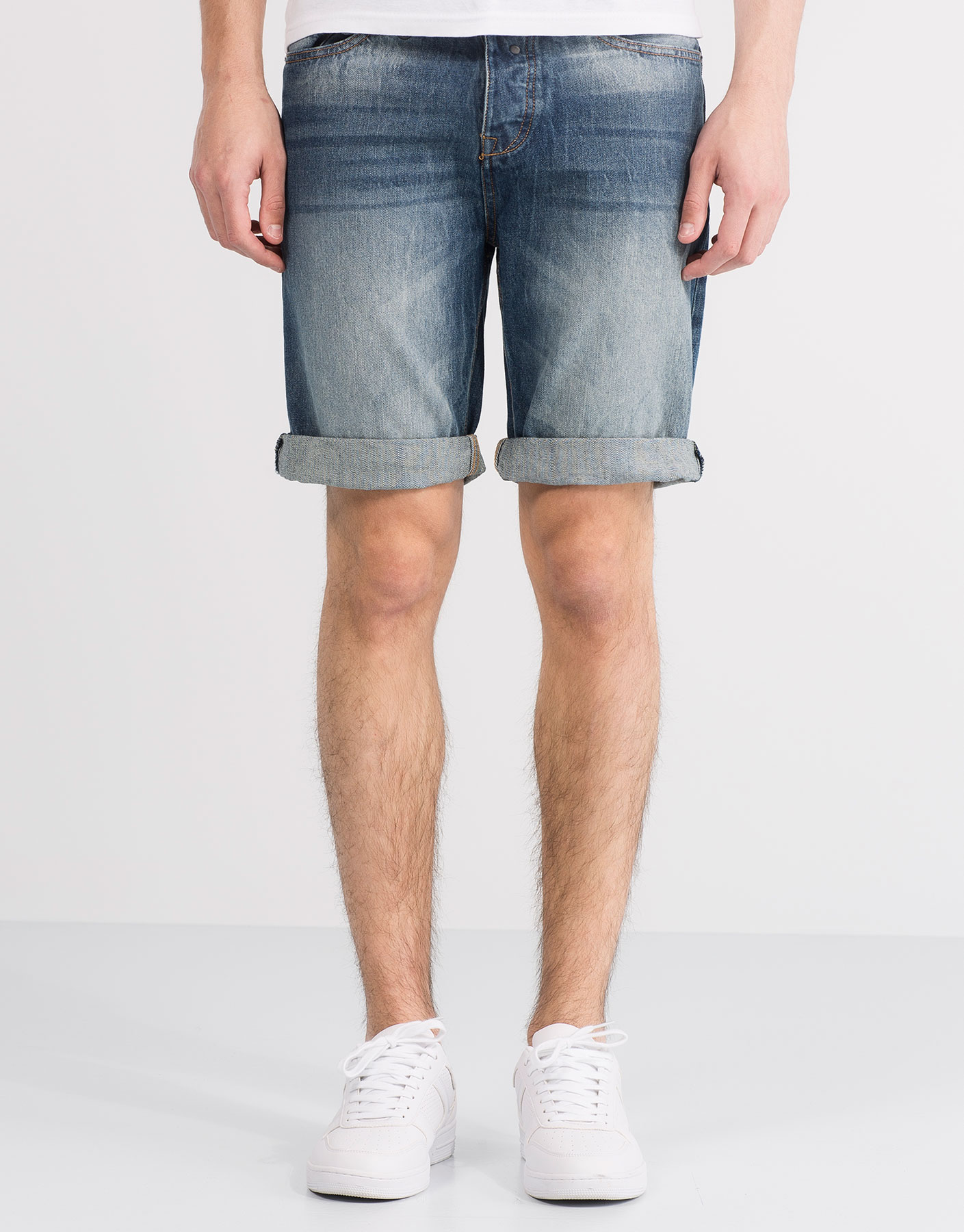 Medium fade denim bermuda shorts