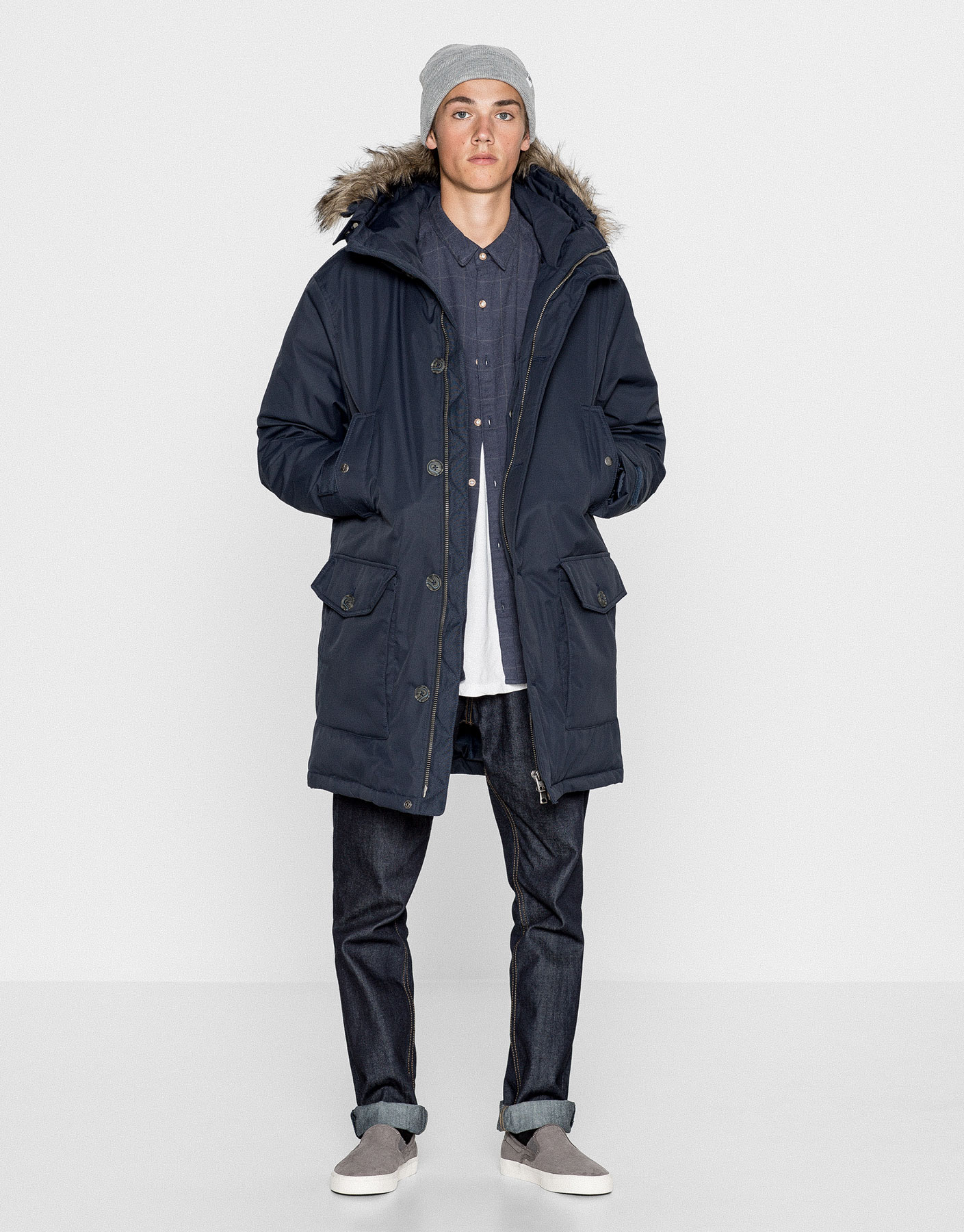 Parka quilted lining faux fur hood