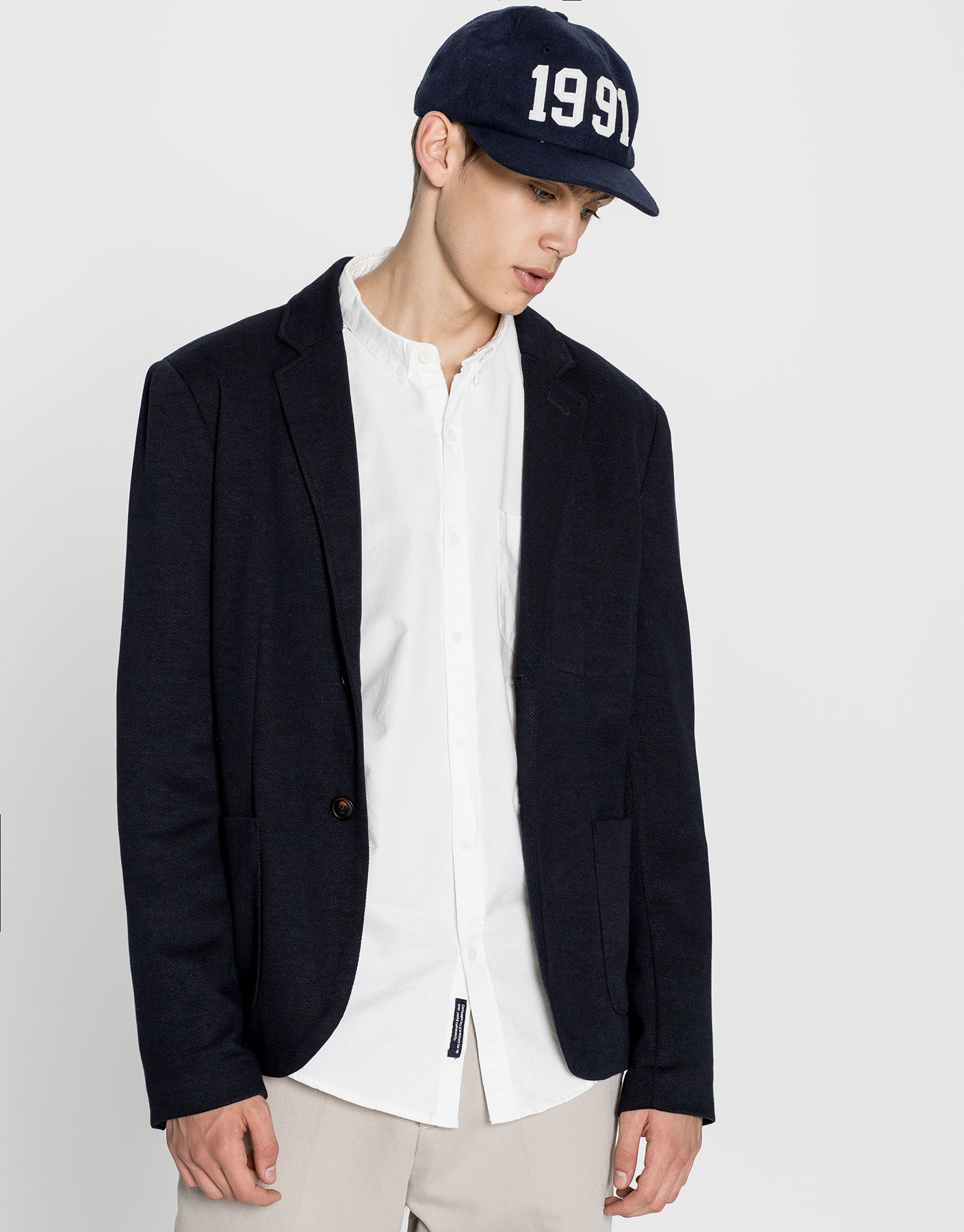 Structured-weave blazer