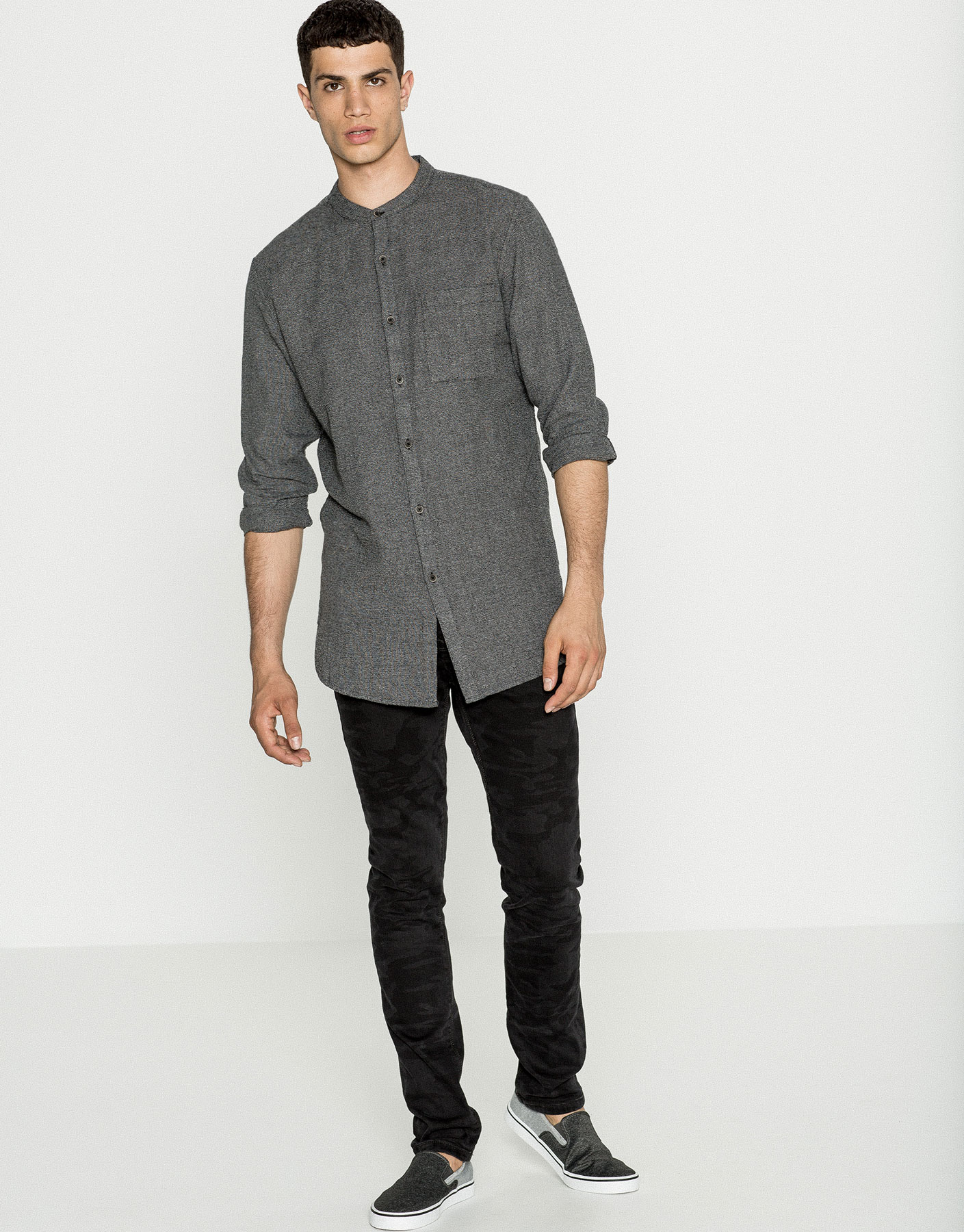 Long fit mandarin collar textured weave shirt