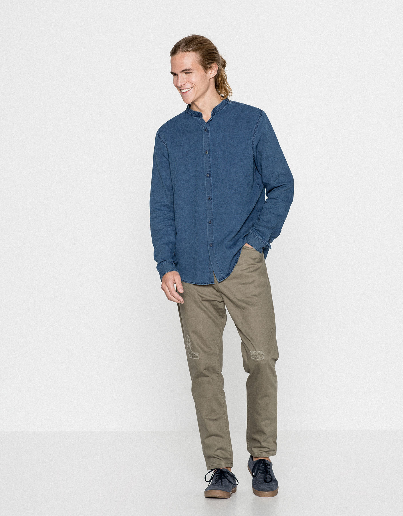 Indigo mandarin collar denim shirt