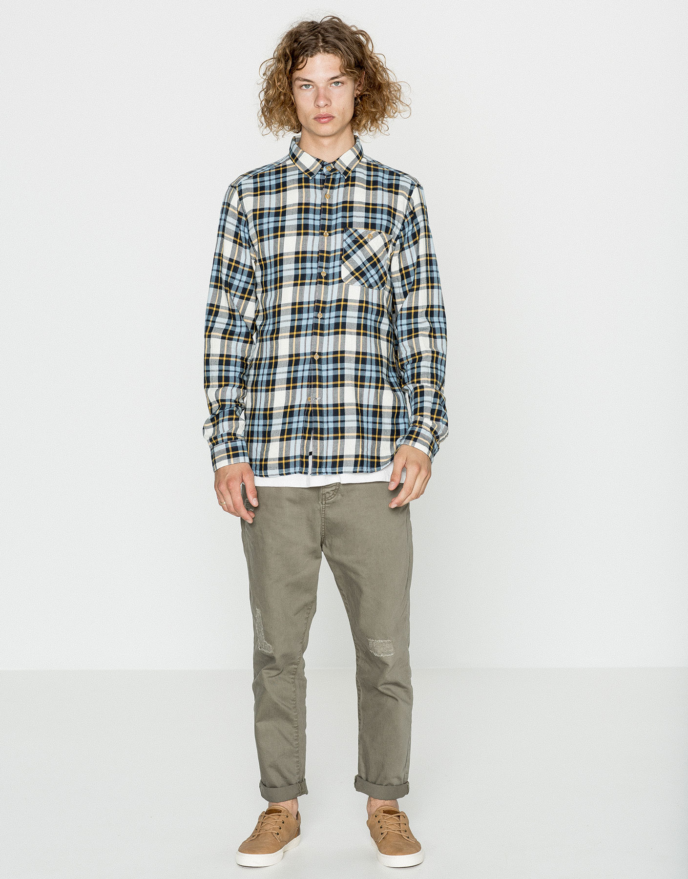 Checked teen shirt with pocket