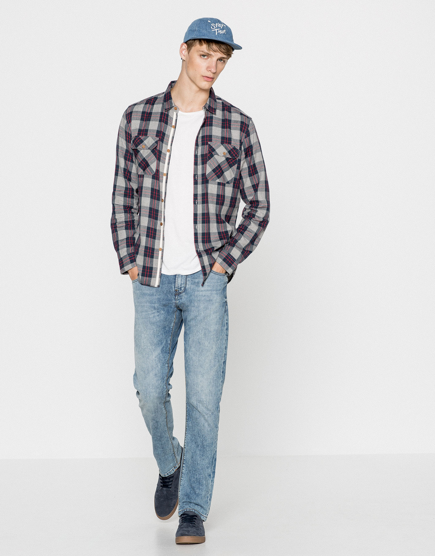 Checked melange pocket shirt