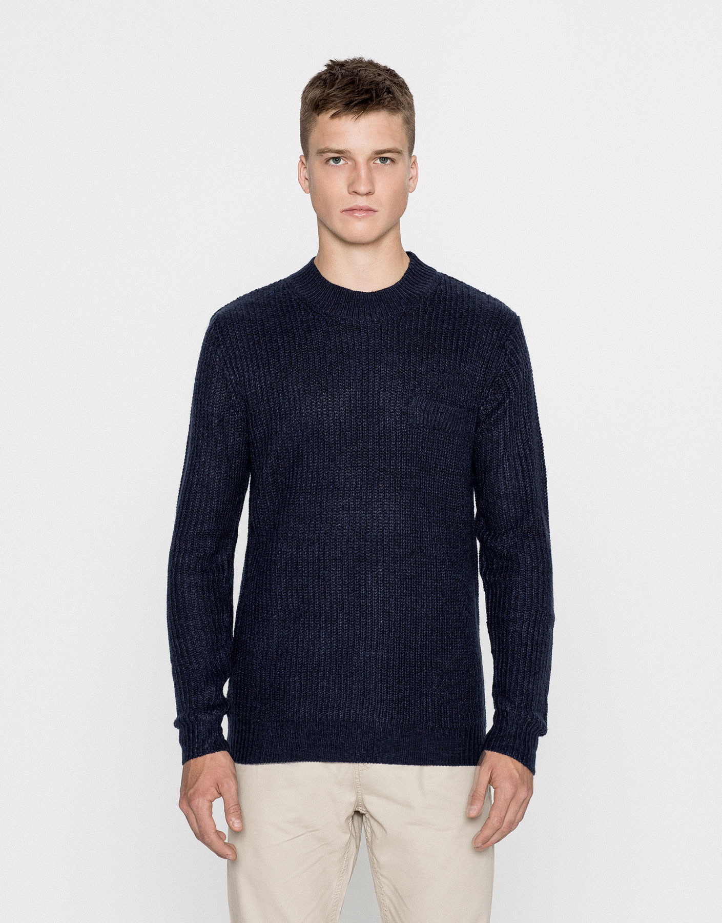 High neck twist knit sweater
