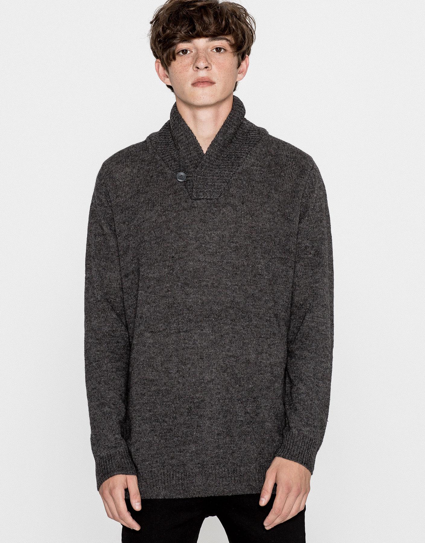 Shawl collar wool sweater