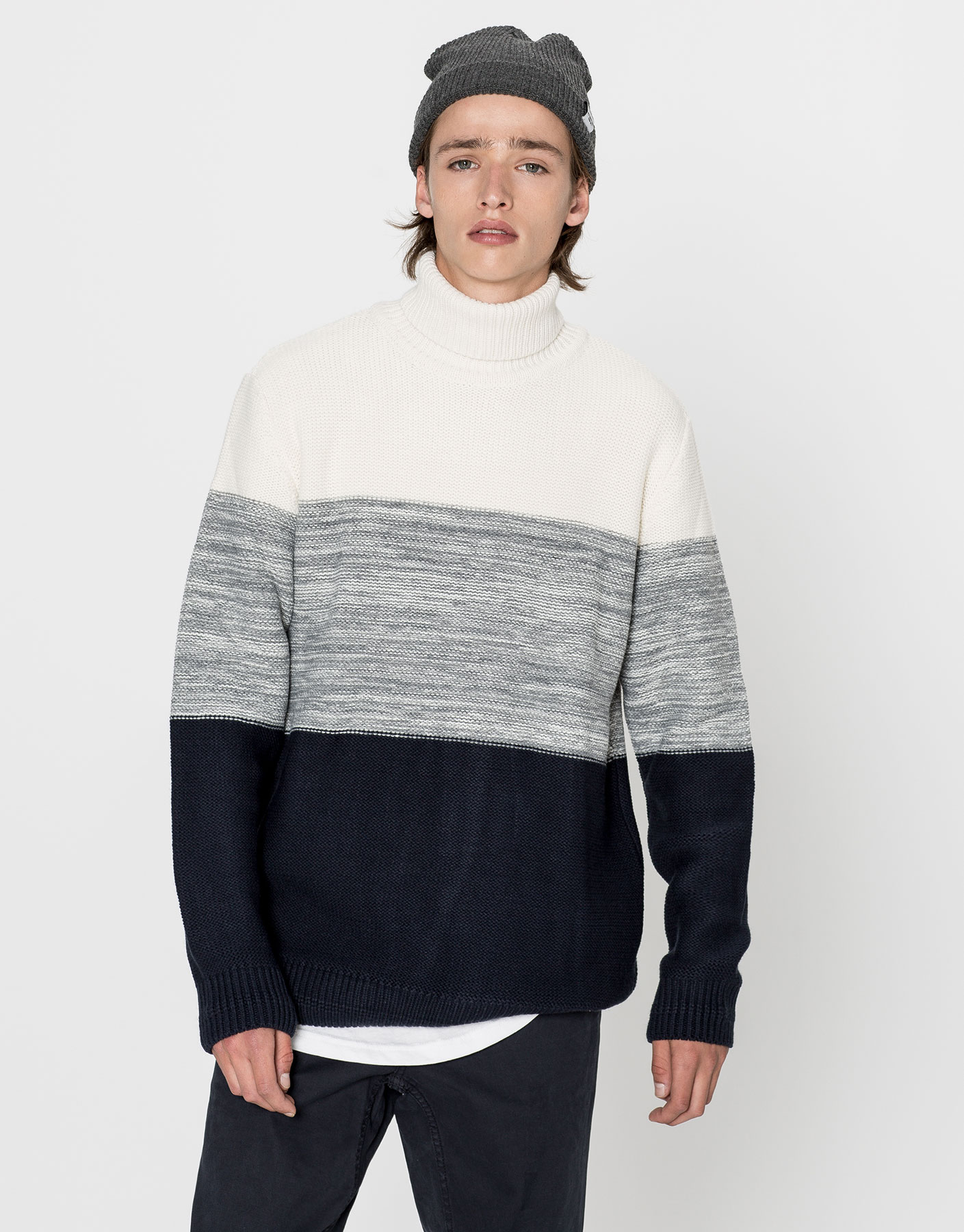 Striped polo neck sweater