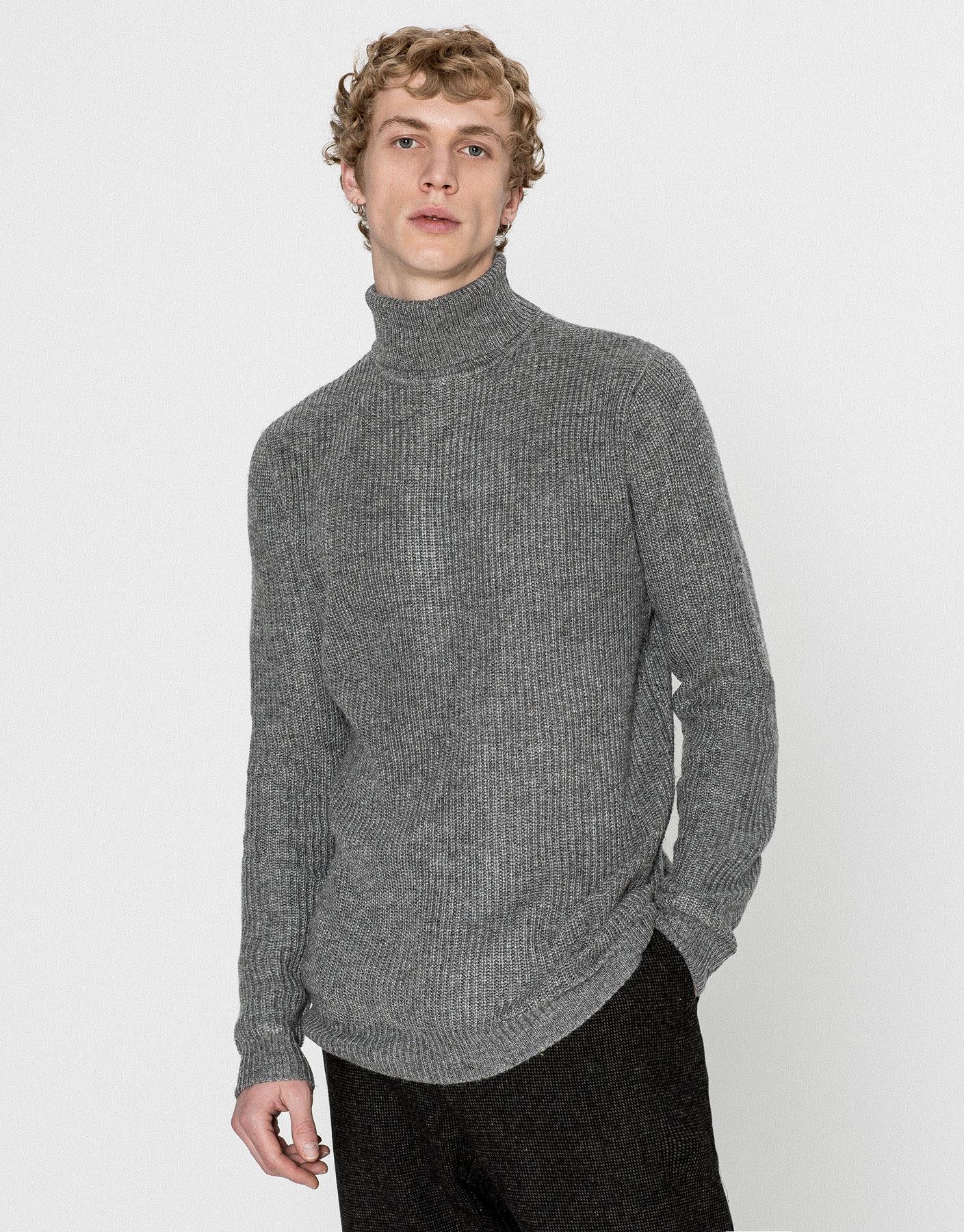 Twist knit polo neck sweater