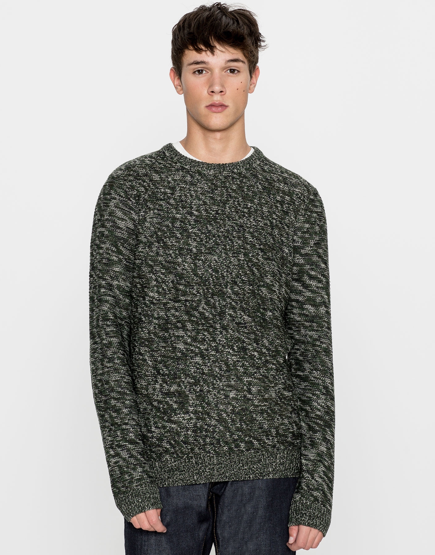 Camouflage textured weave sweater