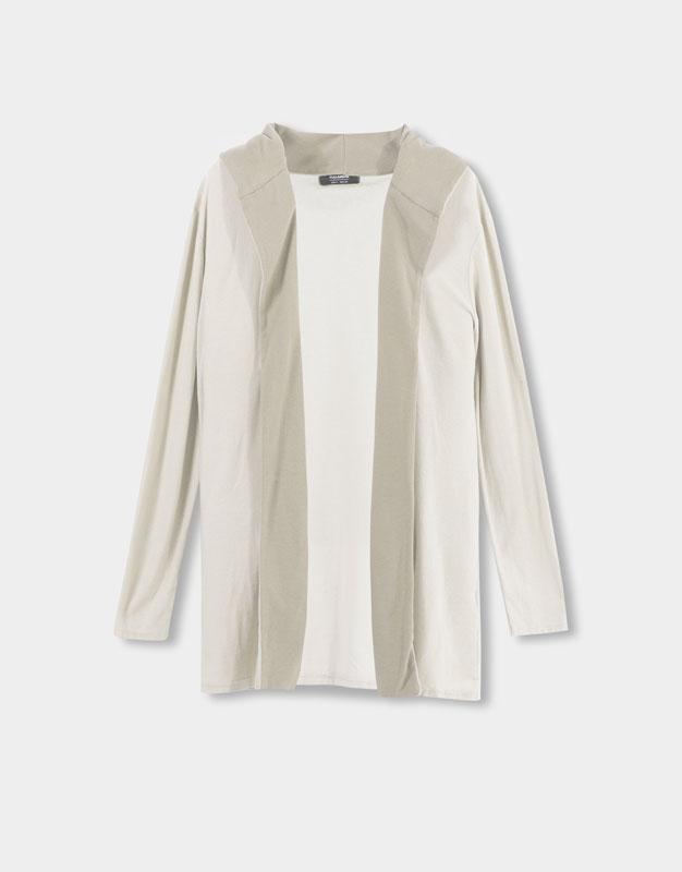 Pull&Bear - hombre - rebajas - chaqueta capucha contraste - arena - 09580500-I2016