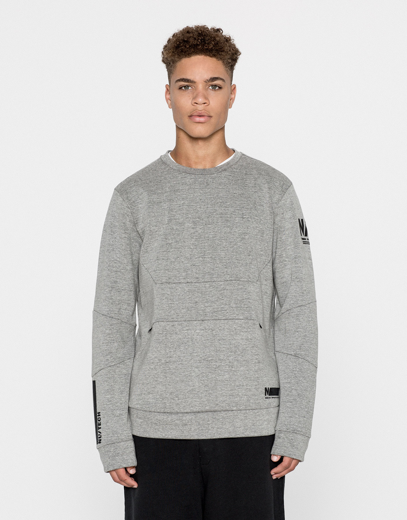 Round neck technical sweatshirt