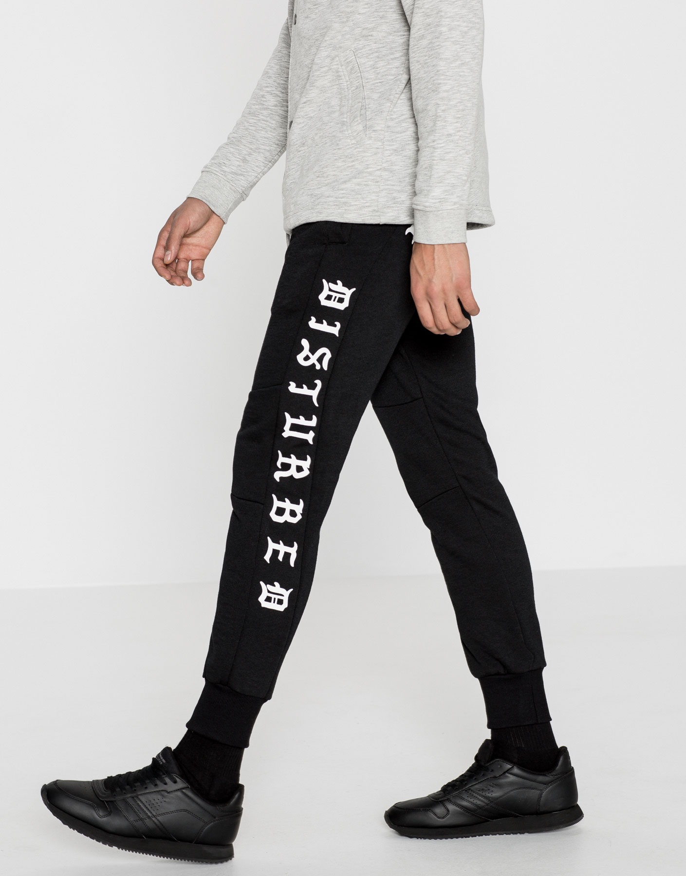 Black printed jogging trousers