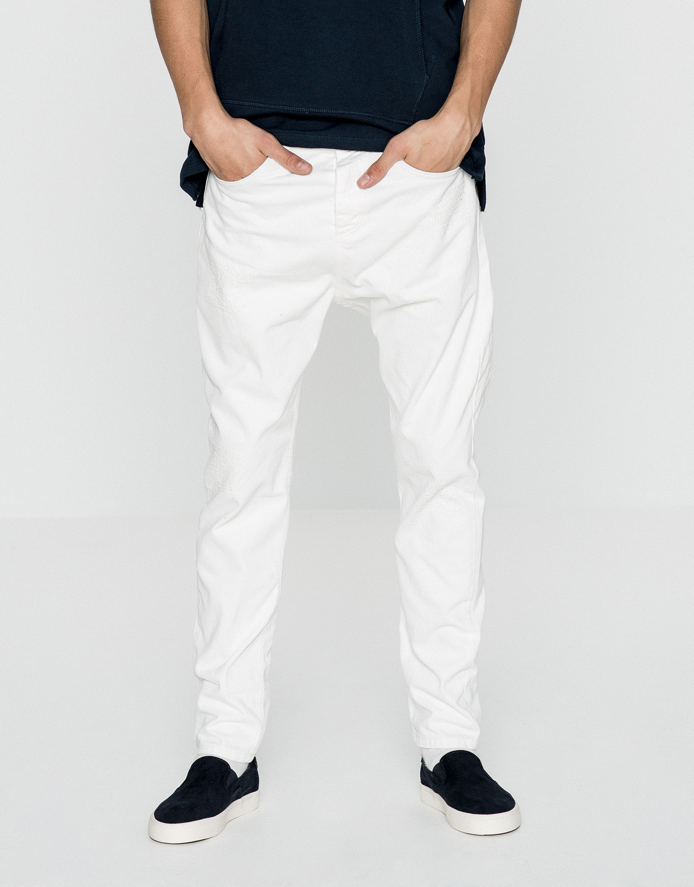 White baggy jeans with rips