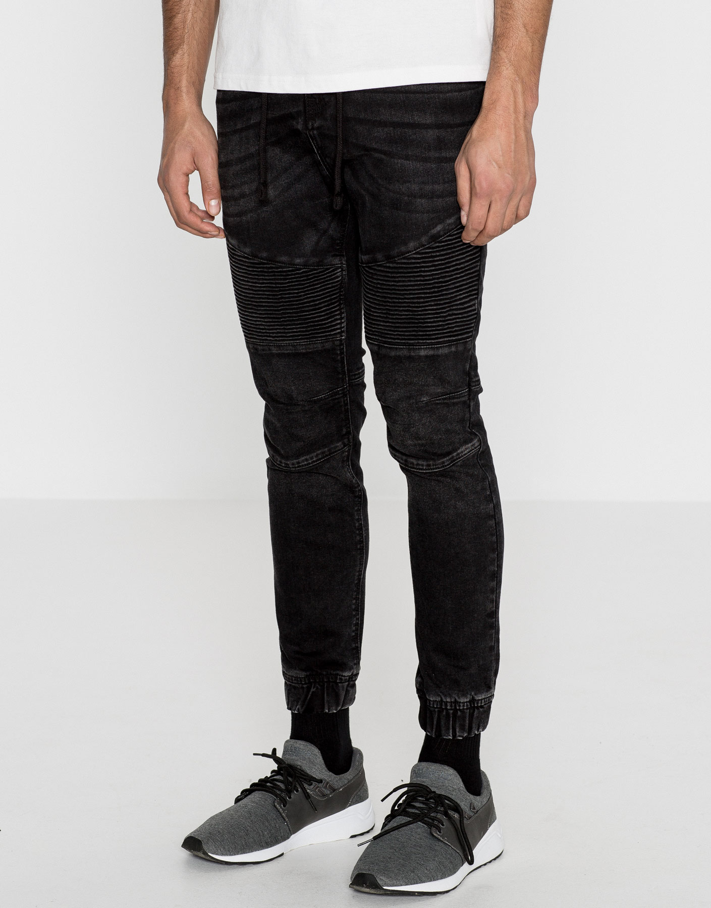Black skinny fit biker jogging trousers