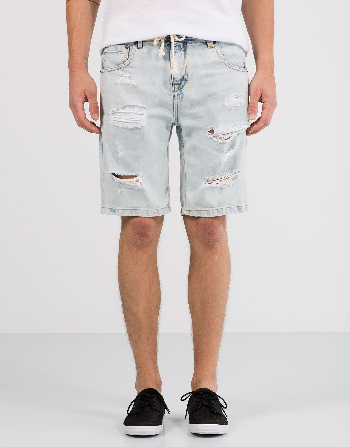 Random wash drawstring bermuda shorts