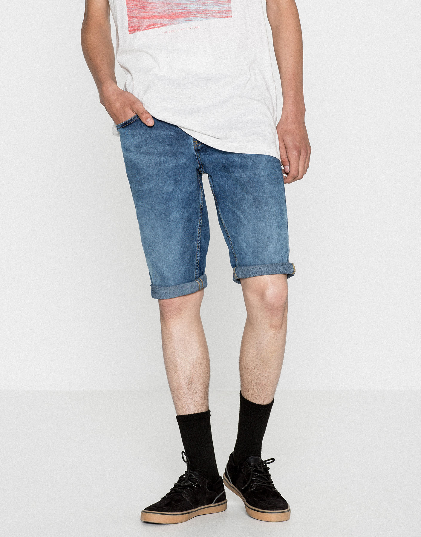 Denim skinny fit bermuda shorts