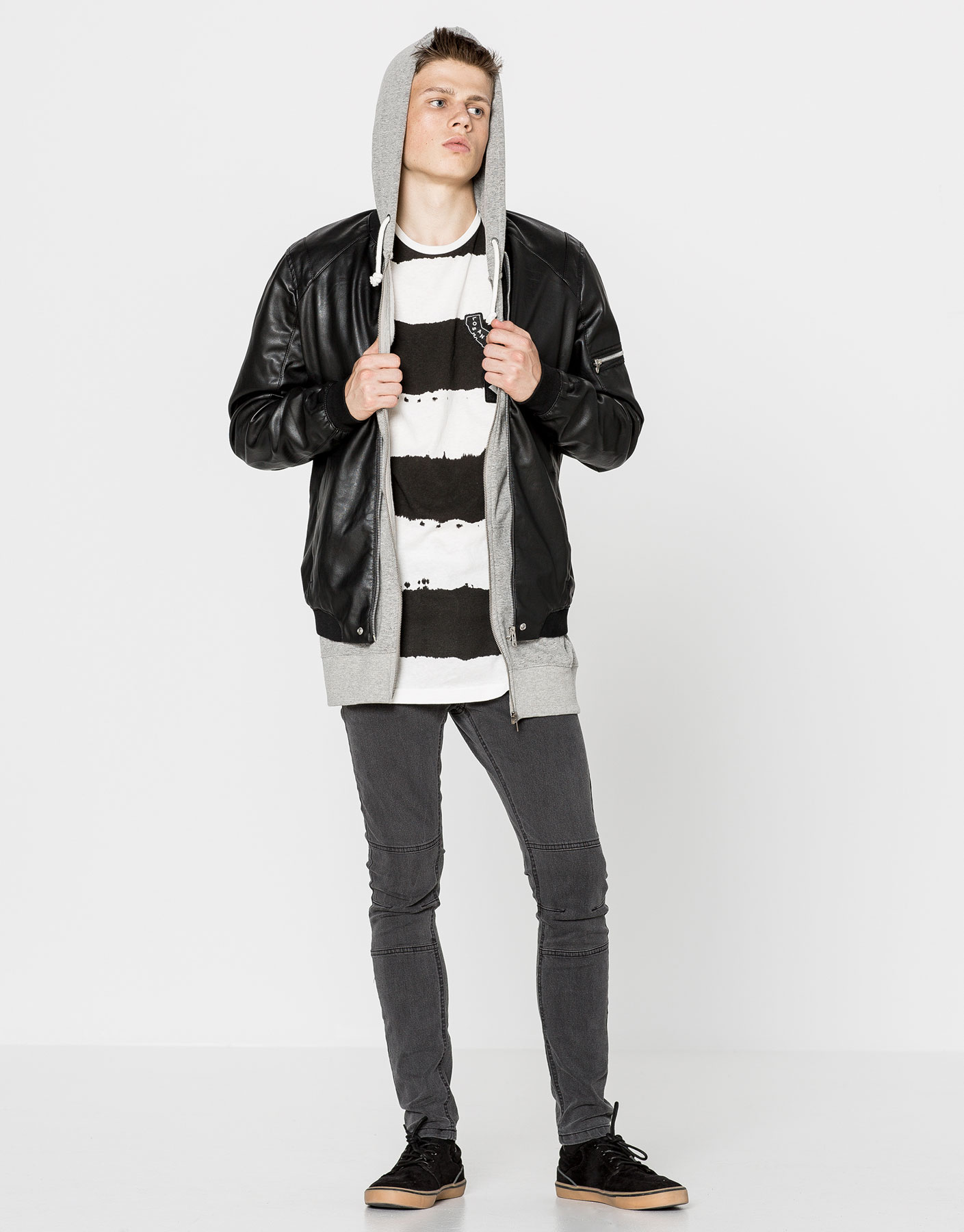 Zipped faux leather bomber jacket