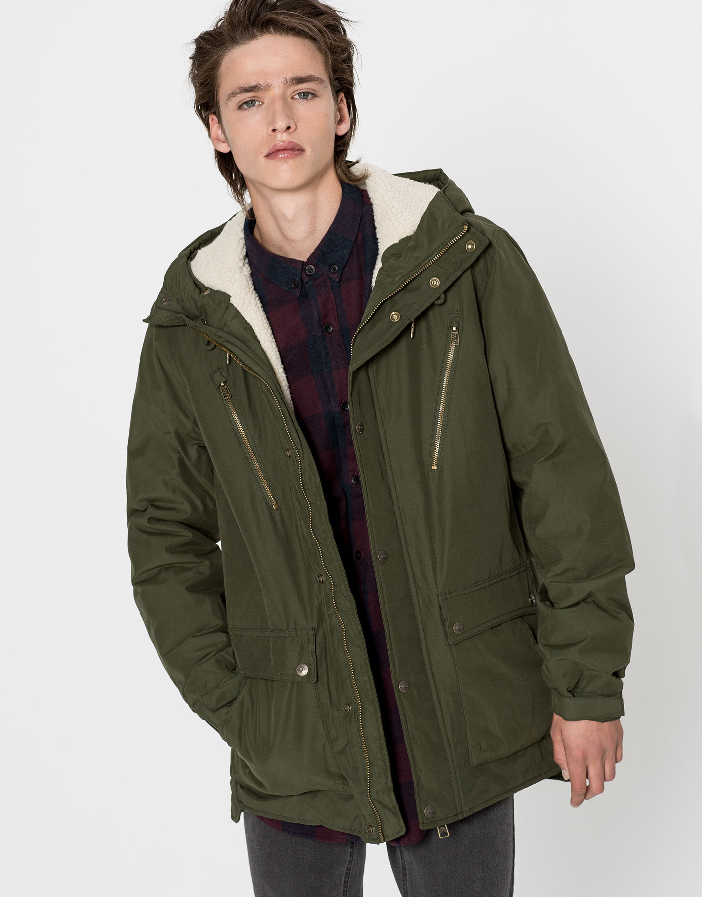 Zipped parka with fleecy interior