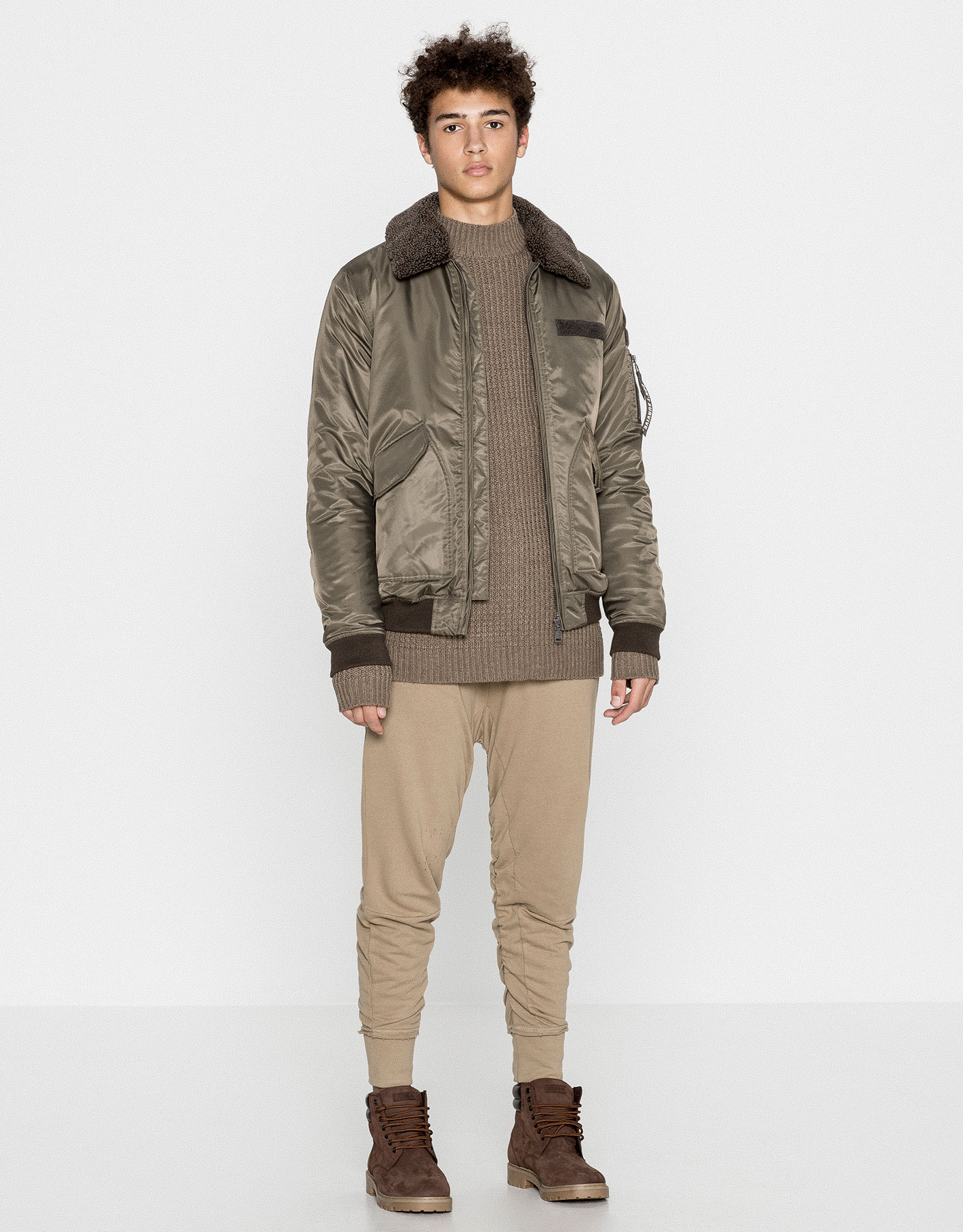 Quilted aviator bomber jacket
