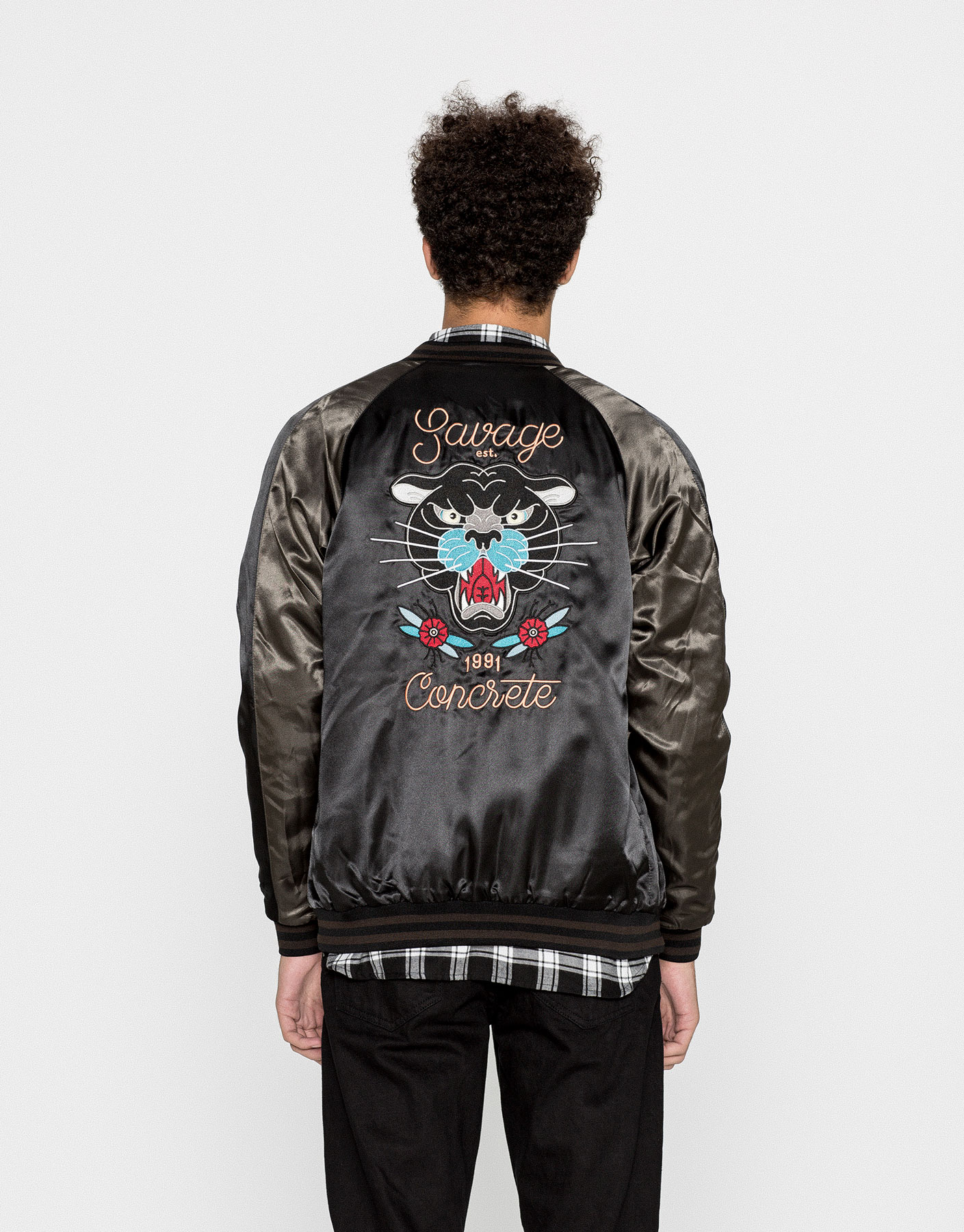 Glossy bomber jacket with back print