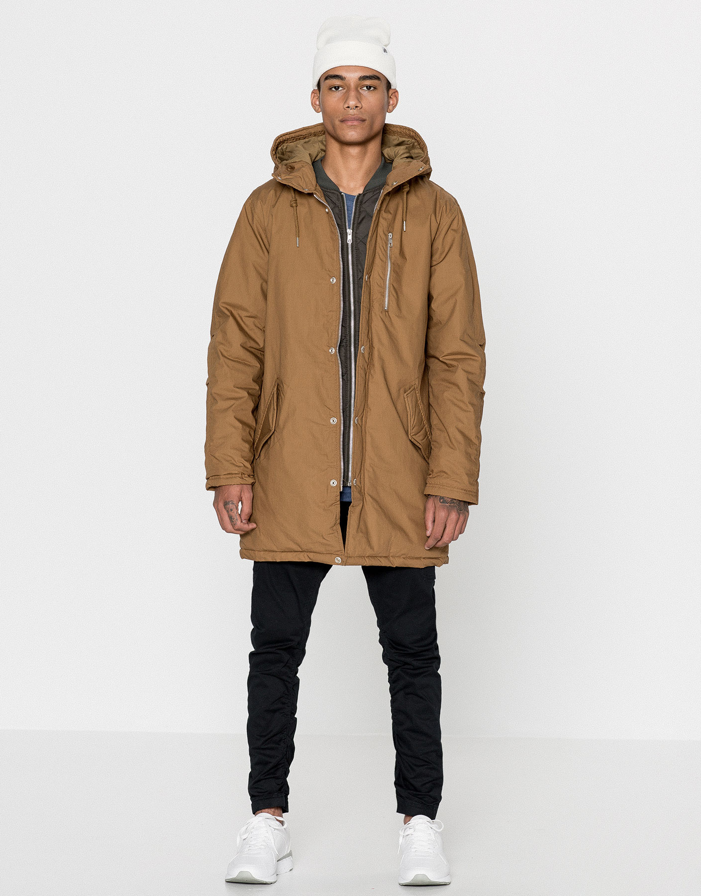 Hooded parka with quilted bib front