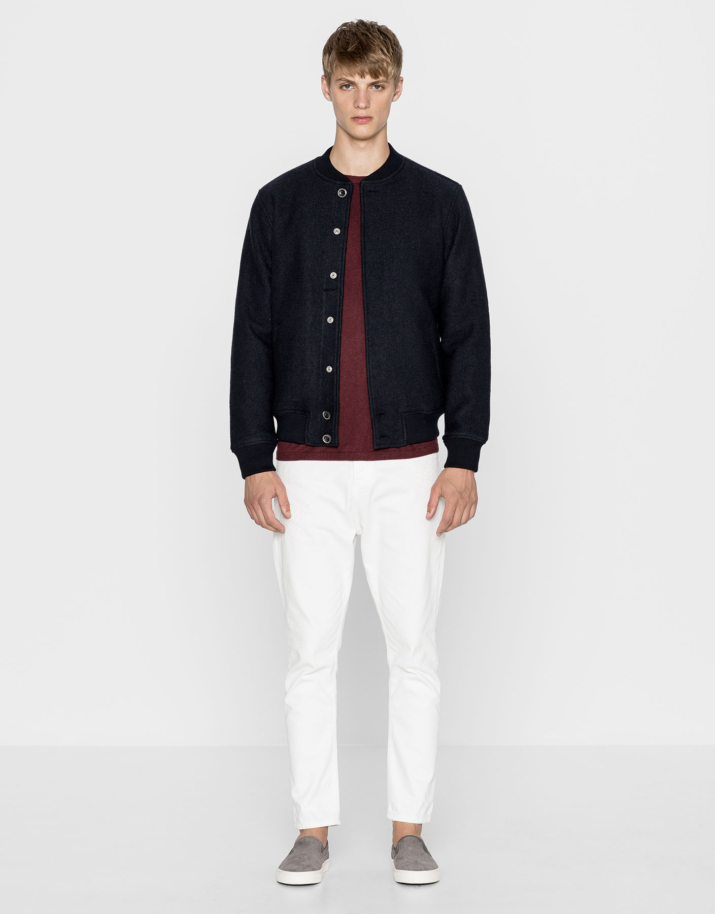 Cloth bomber jacket with snaps