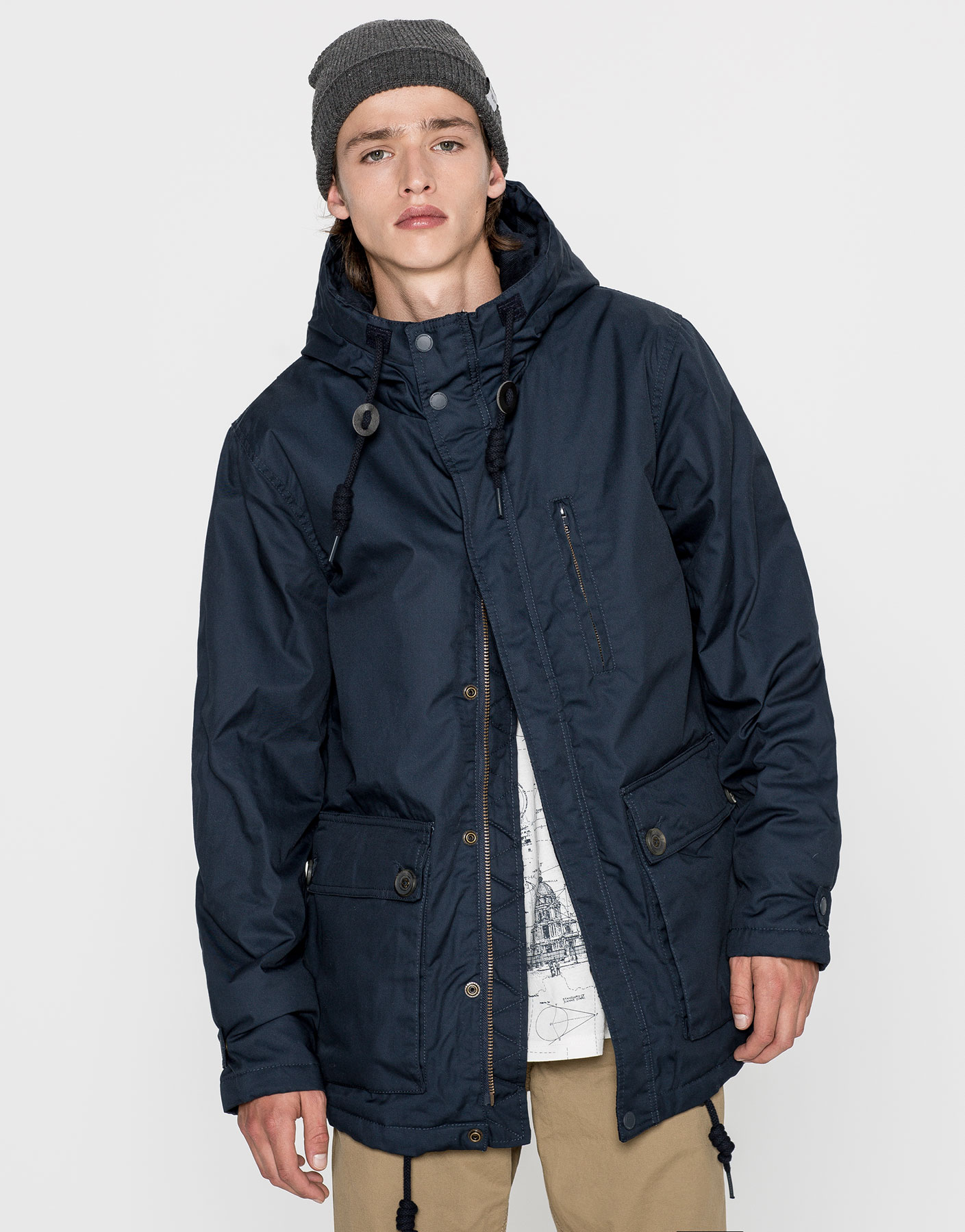 Cotton parka with pockets