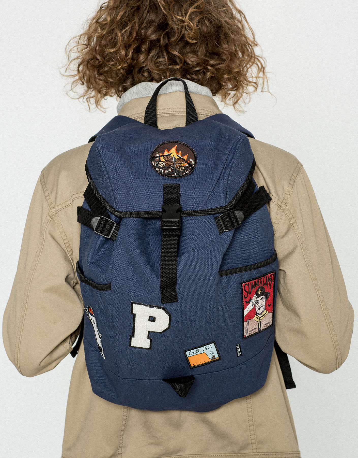 Blue multi-patches backpack