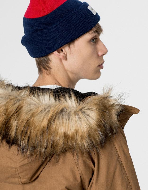 PullBear , hombre , accesorios , gorras y gorros , gorro doble tono , azul ,