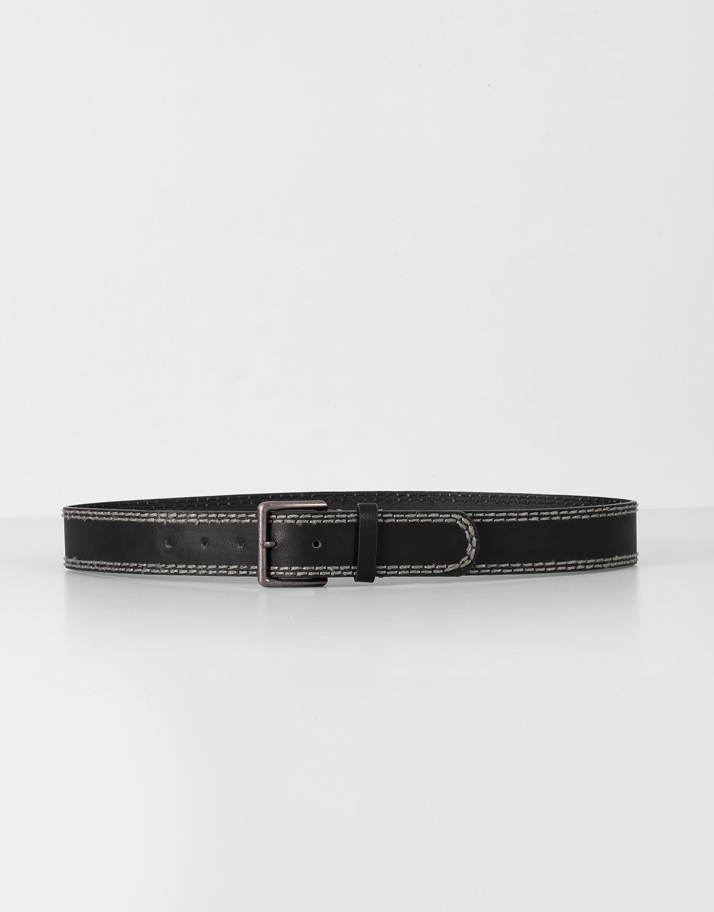 Contrast topstitched belt