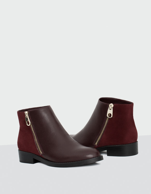 Oxblood leather and suede ankle boots pull and bear