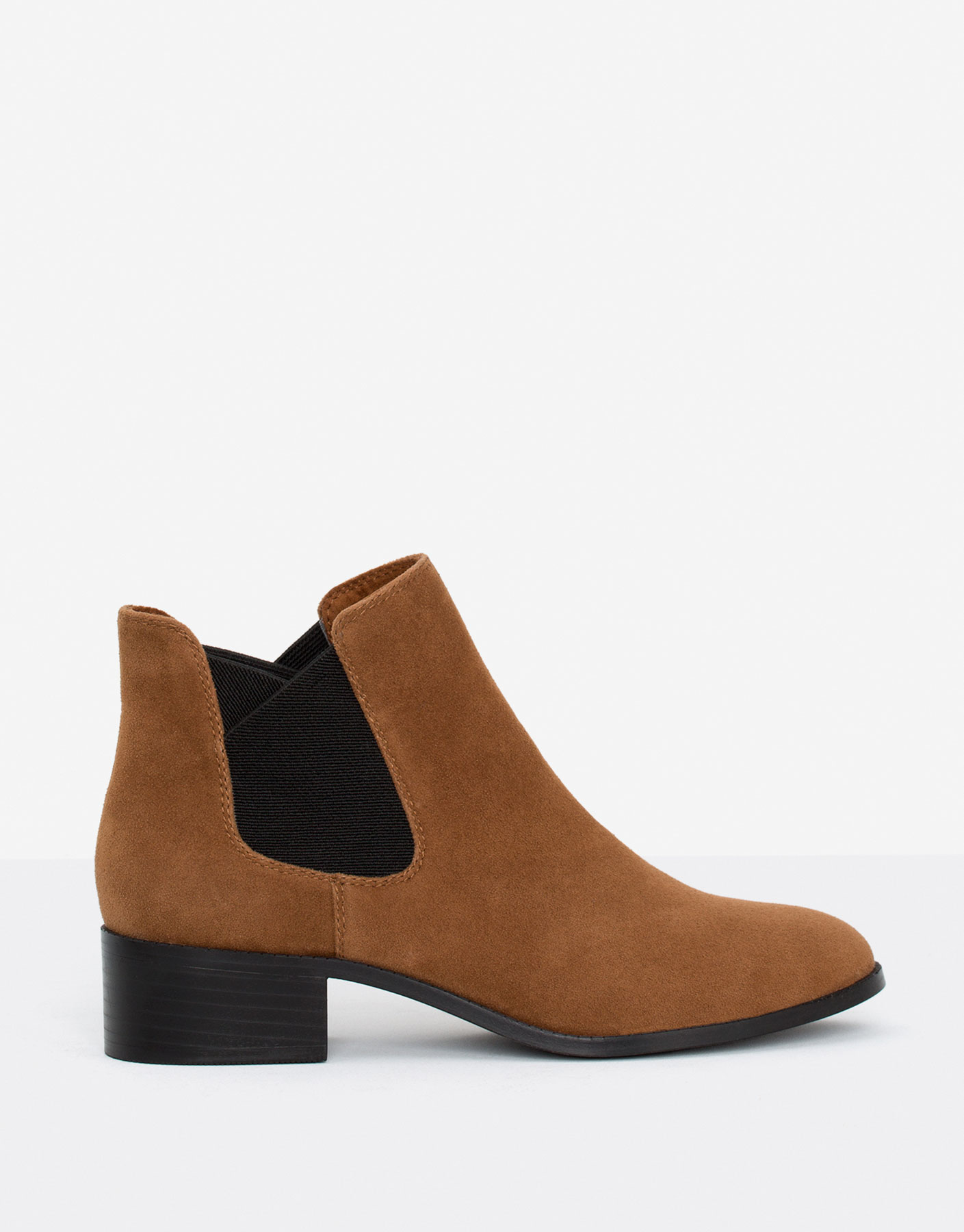 Leather stretch ankle boots