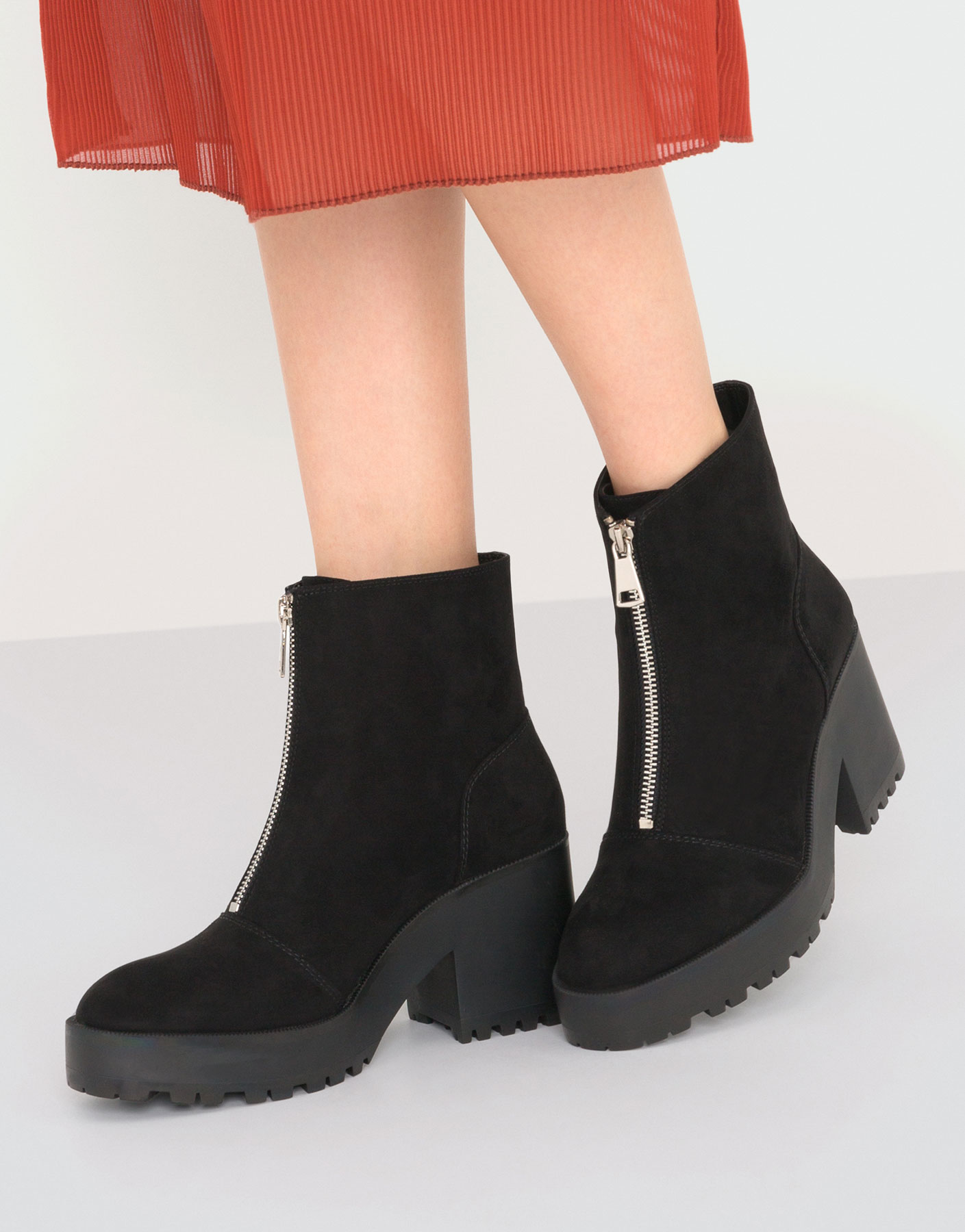 High heel ankle boots with zip