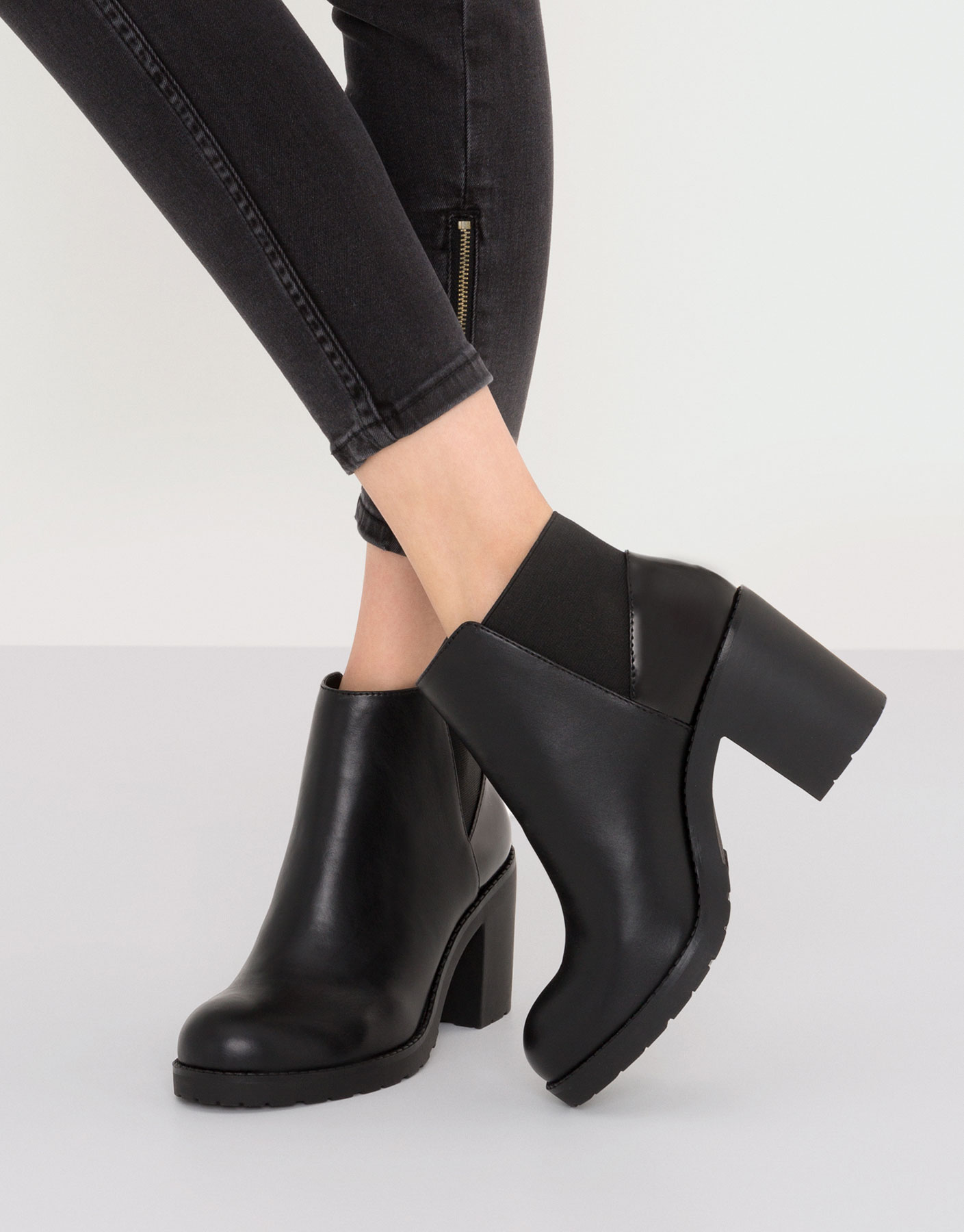Black contrast high heel ankle boots