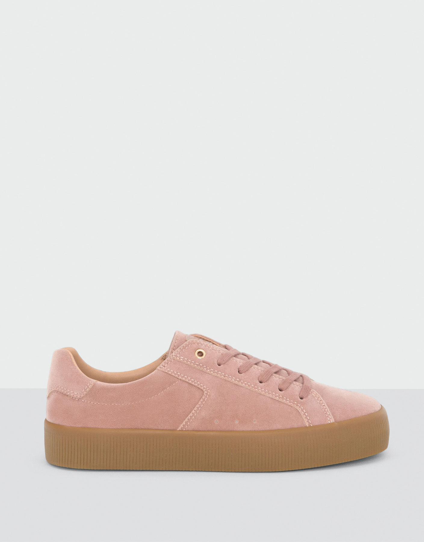 Nude plimsolls with caramel sole