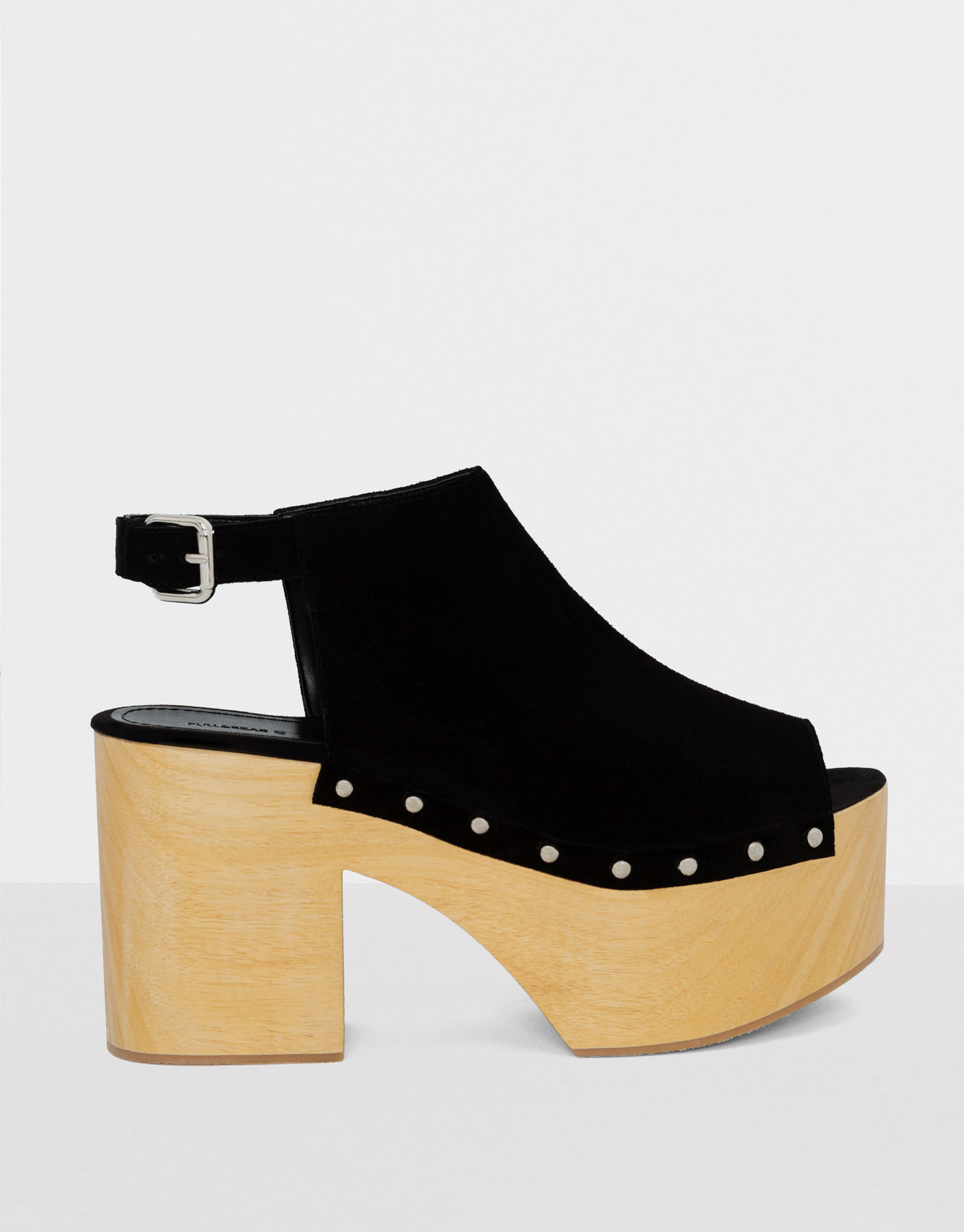 Black leather mules with wooden heel