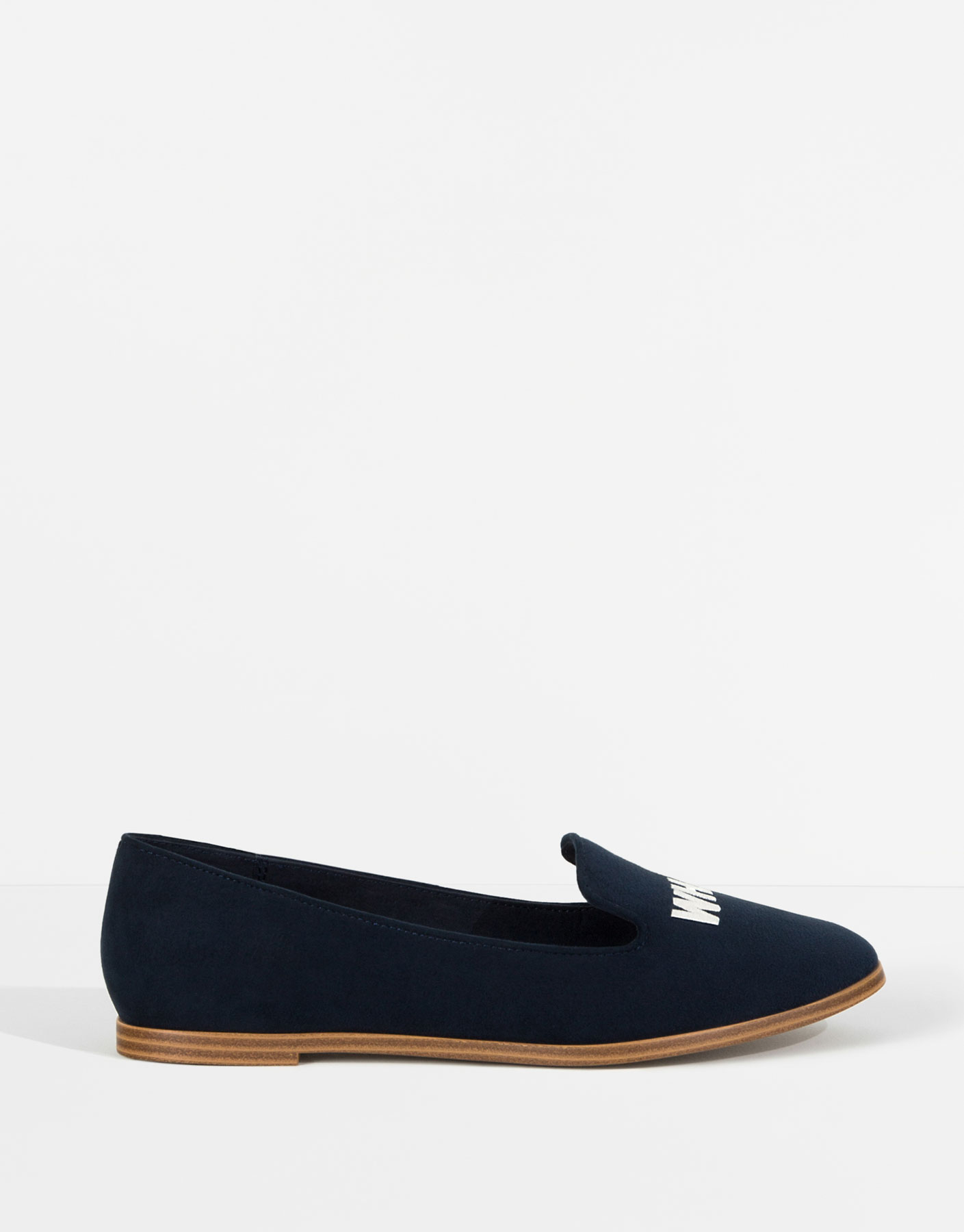 Navy loafer met tekst