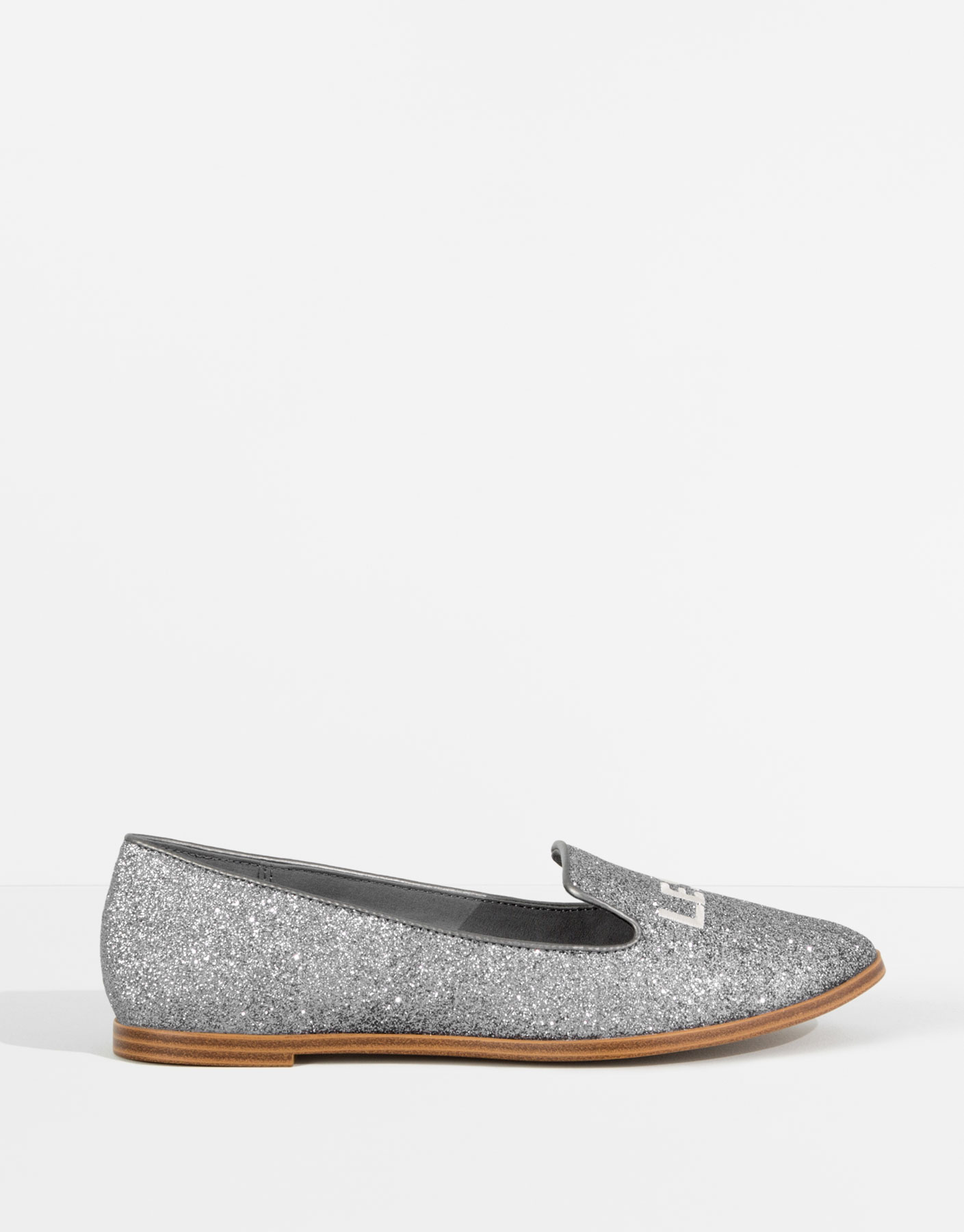 Silver message loafers
