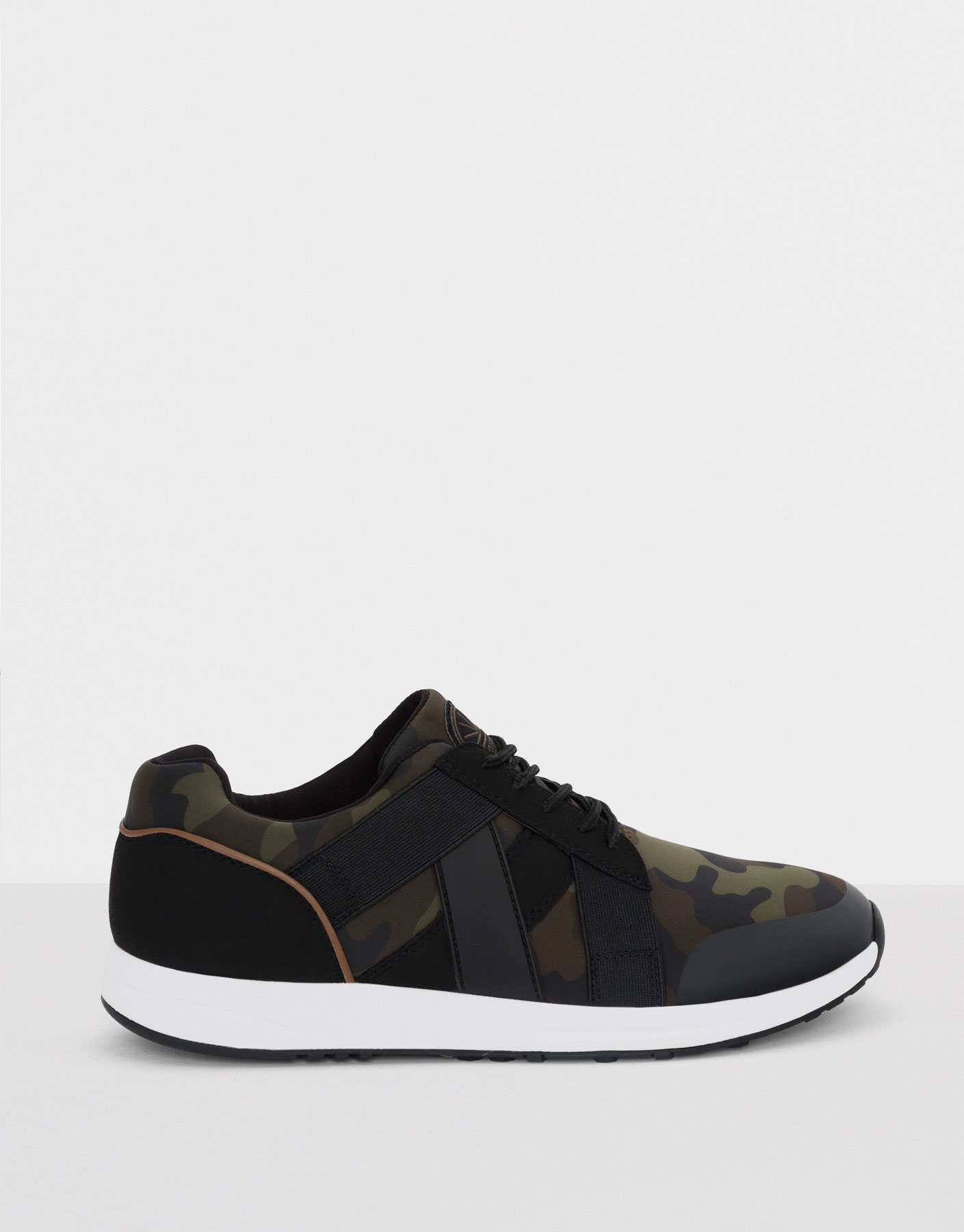 Elasticated camouflage print sneakers